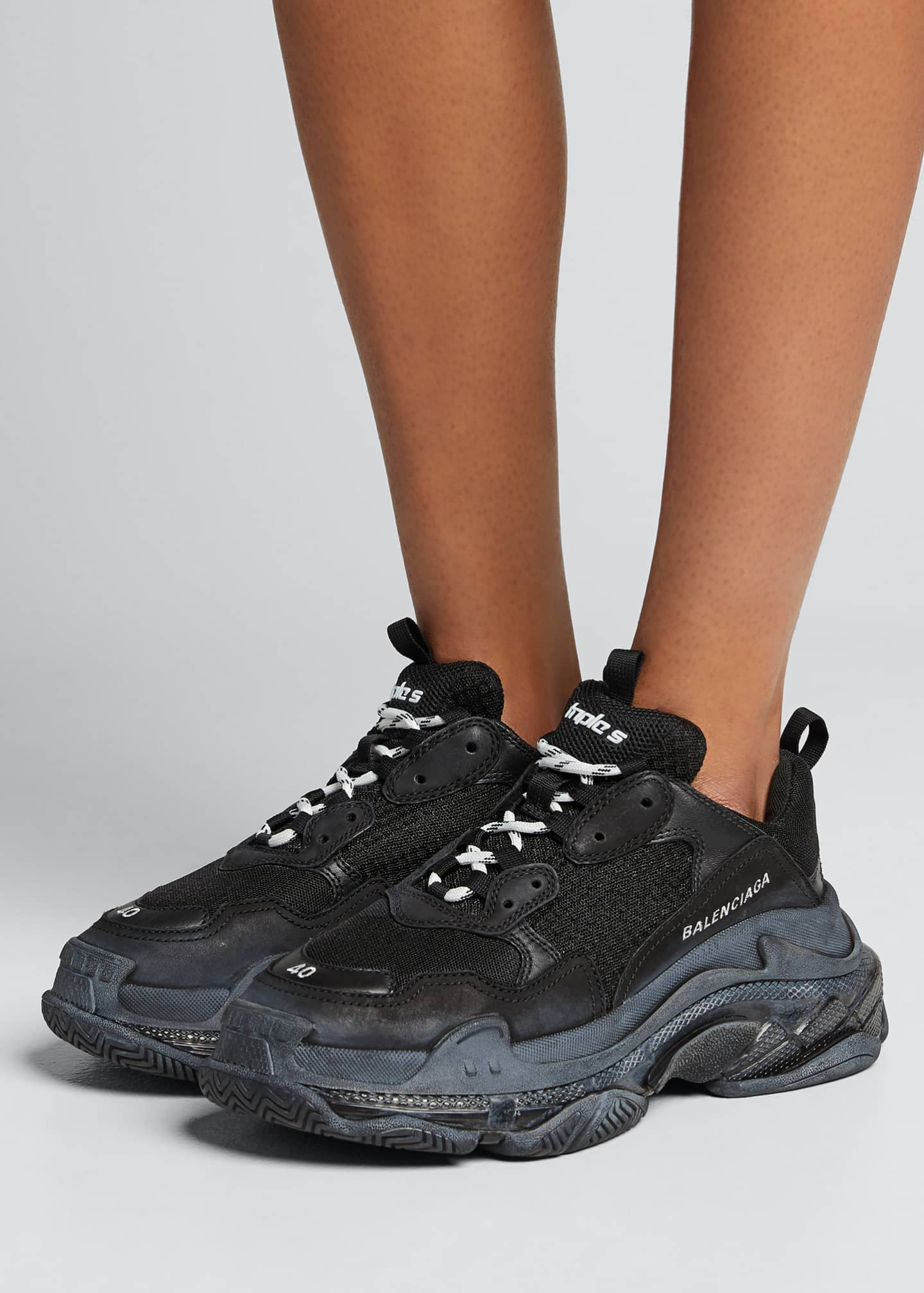 Image 2 of 5: Triple S Air Nylon Sneakers with Logo, Noir