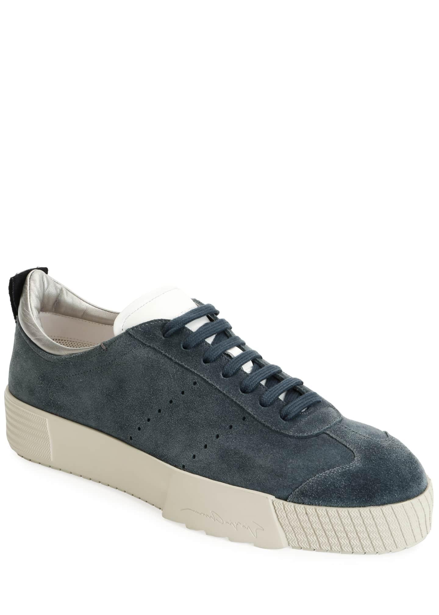 Giorgio Armani Men's Suede Low-Top Sneakers, Blue
