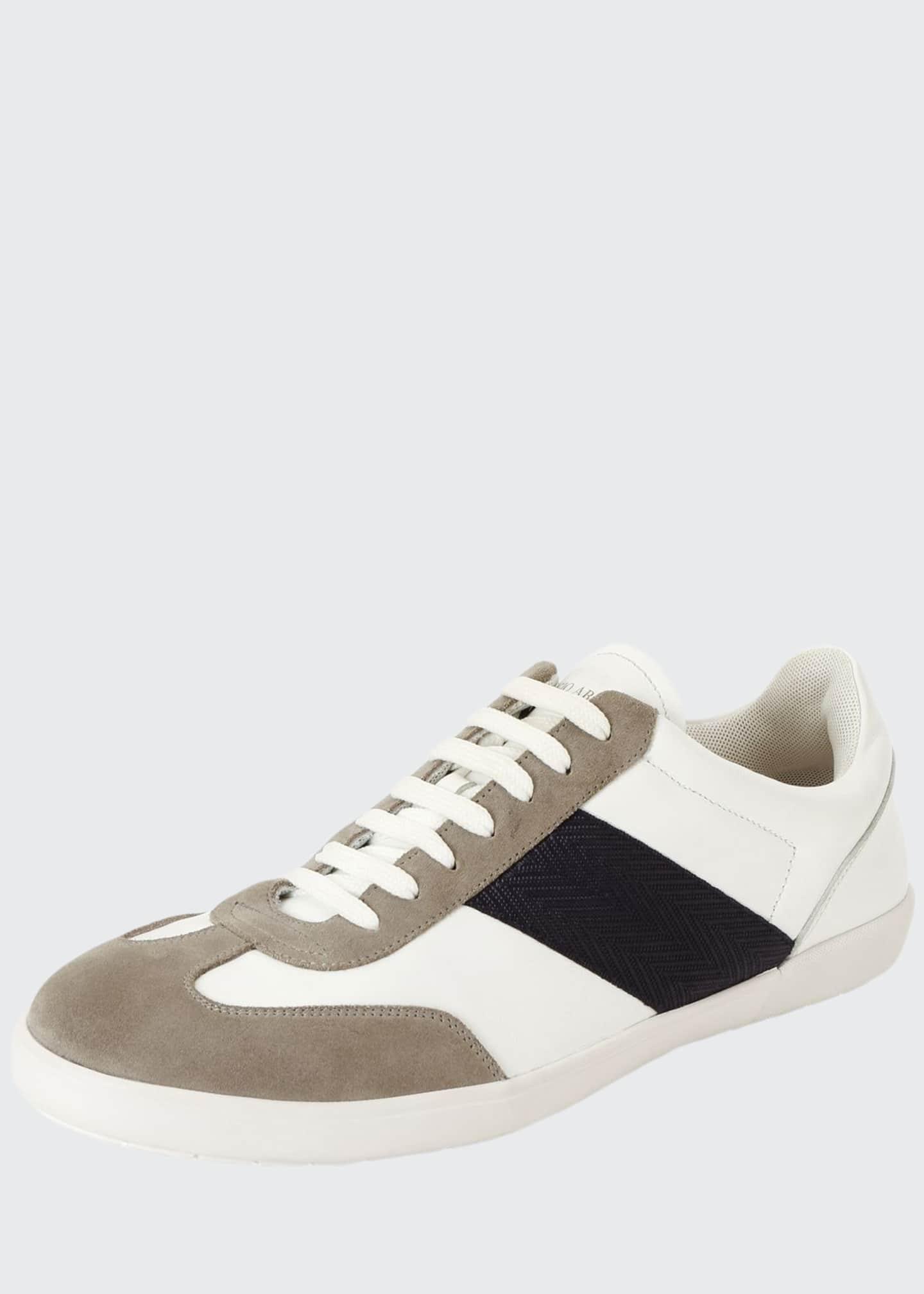 Giorgio Armani Men's Tricolor Low-Top Sneakers