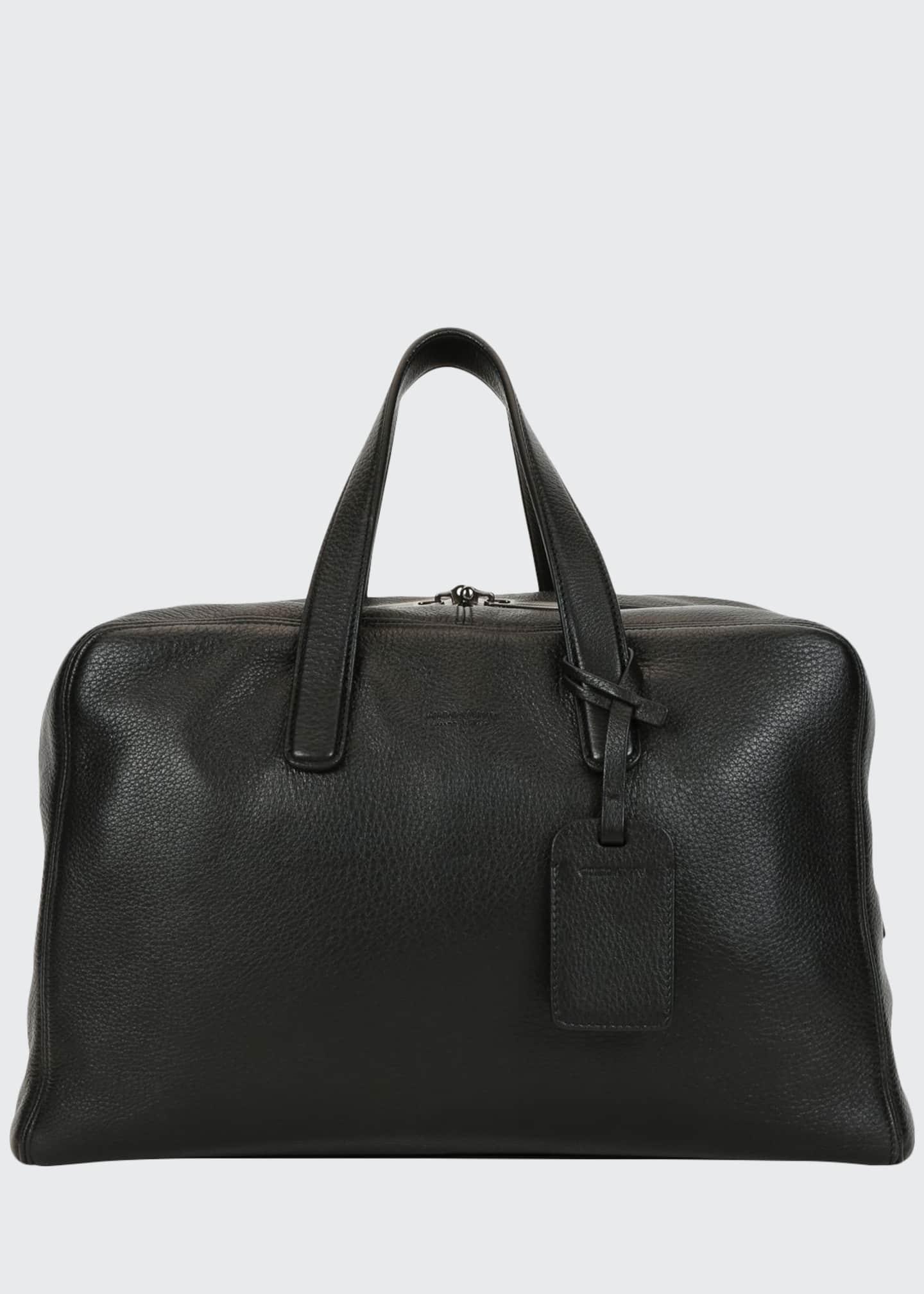 Giorgio Armani Men's Deer Leather Carryall Duffel Bag,