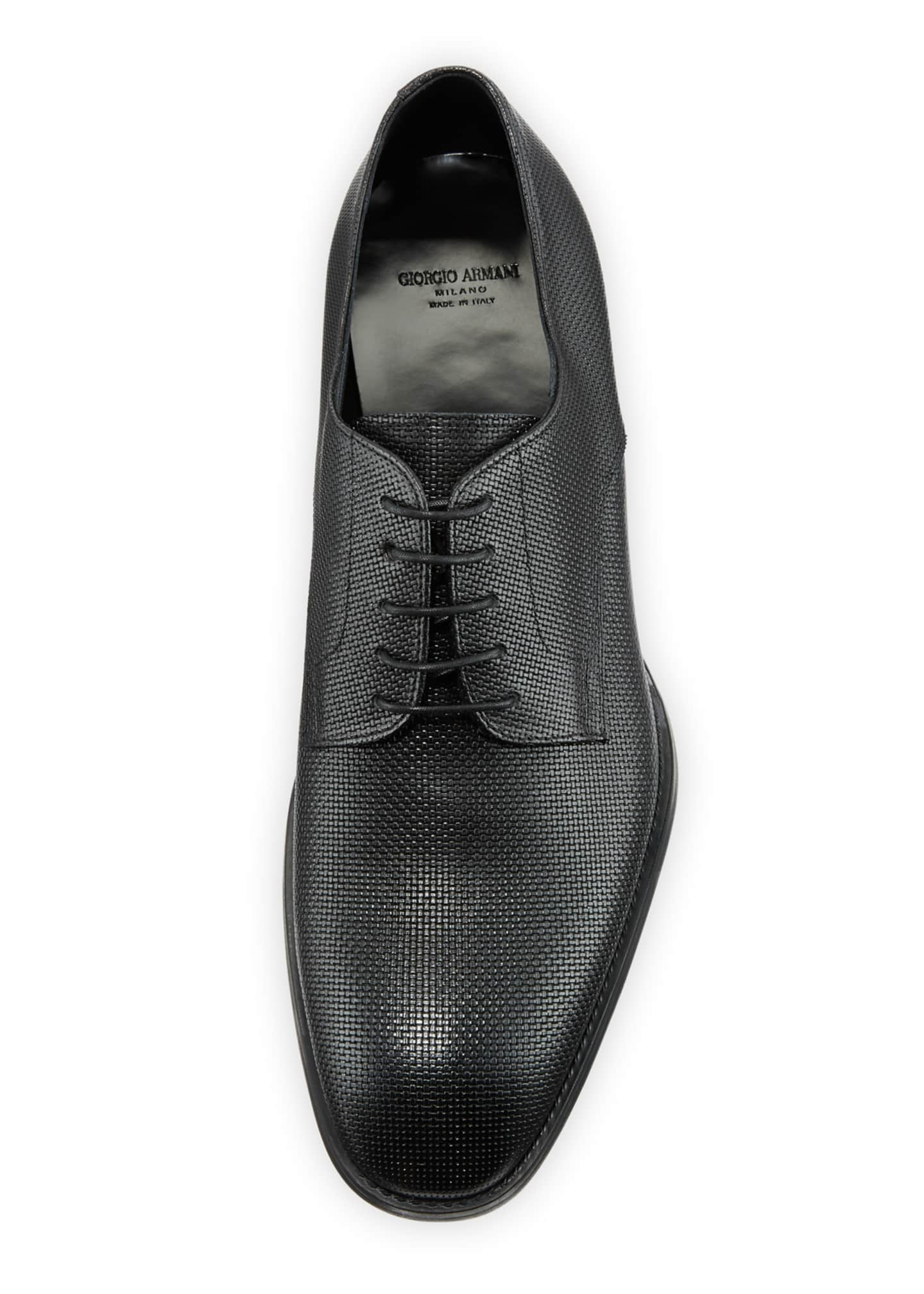 Image 2 of 3: Men's Textured Leather Derby Shoes