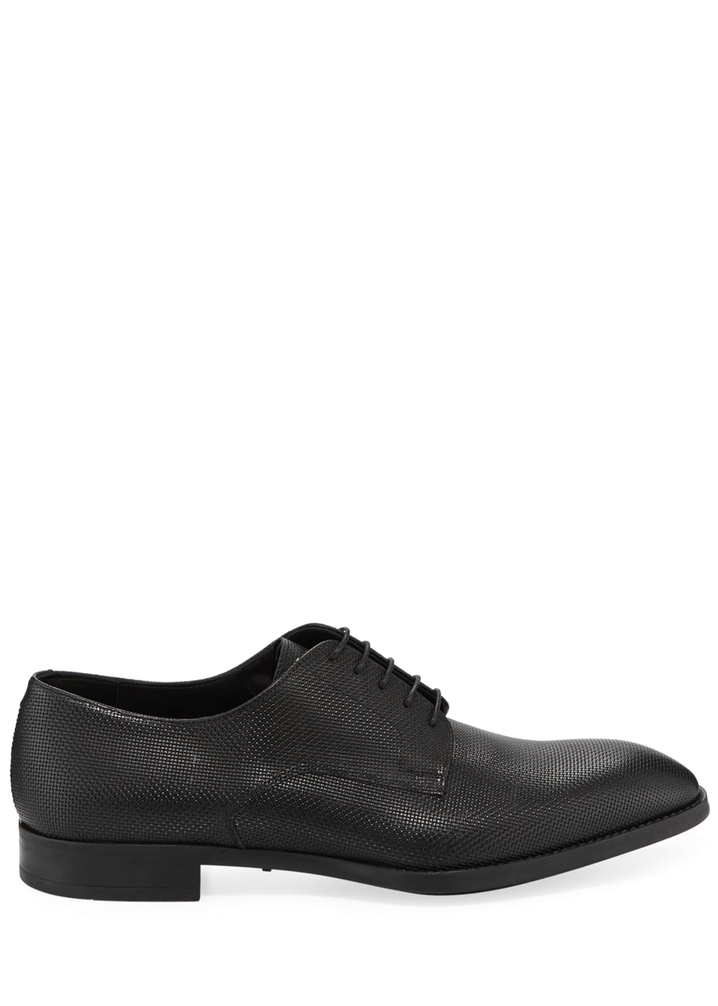 Image 3 of 3: Men's Textured Leather Derby Shoes