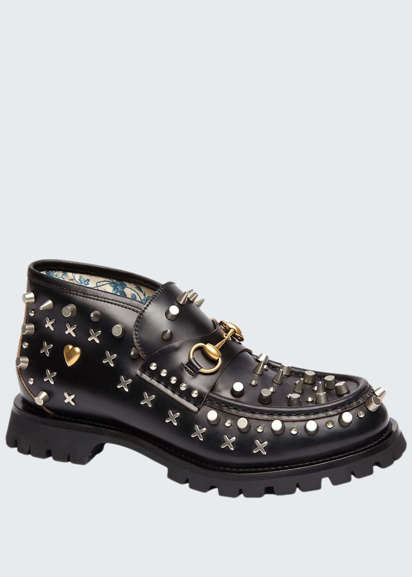 Gucci Men's Studded Leather Ankle Boots