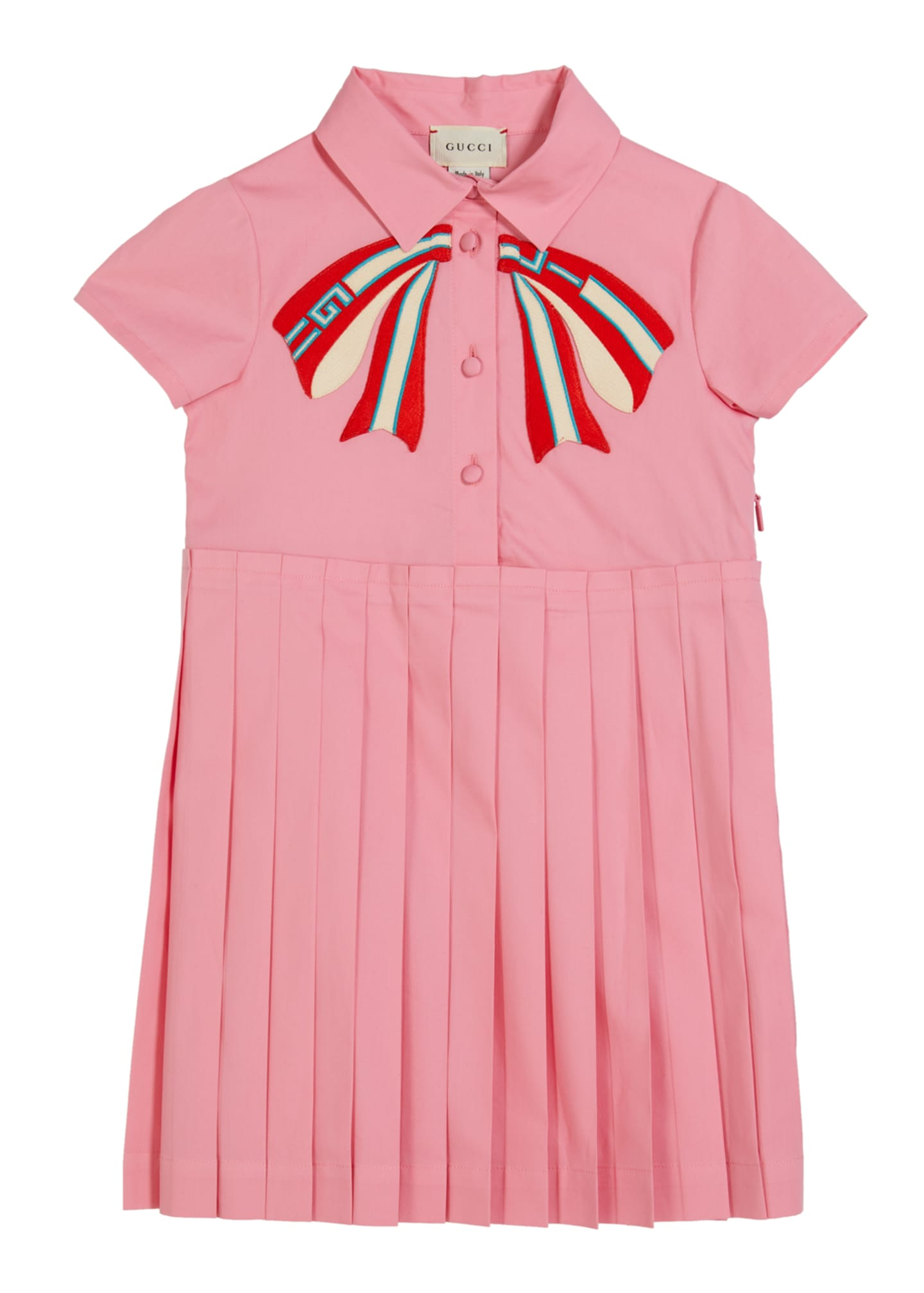 Image 1 of 1: Girl's Collared Pleated Dress w/ Logo Bow Applique, Size 4-12