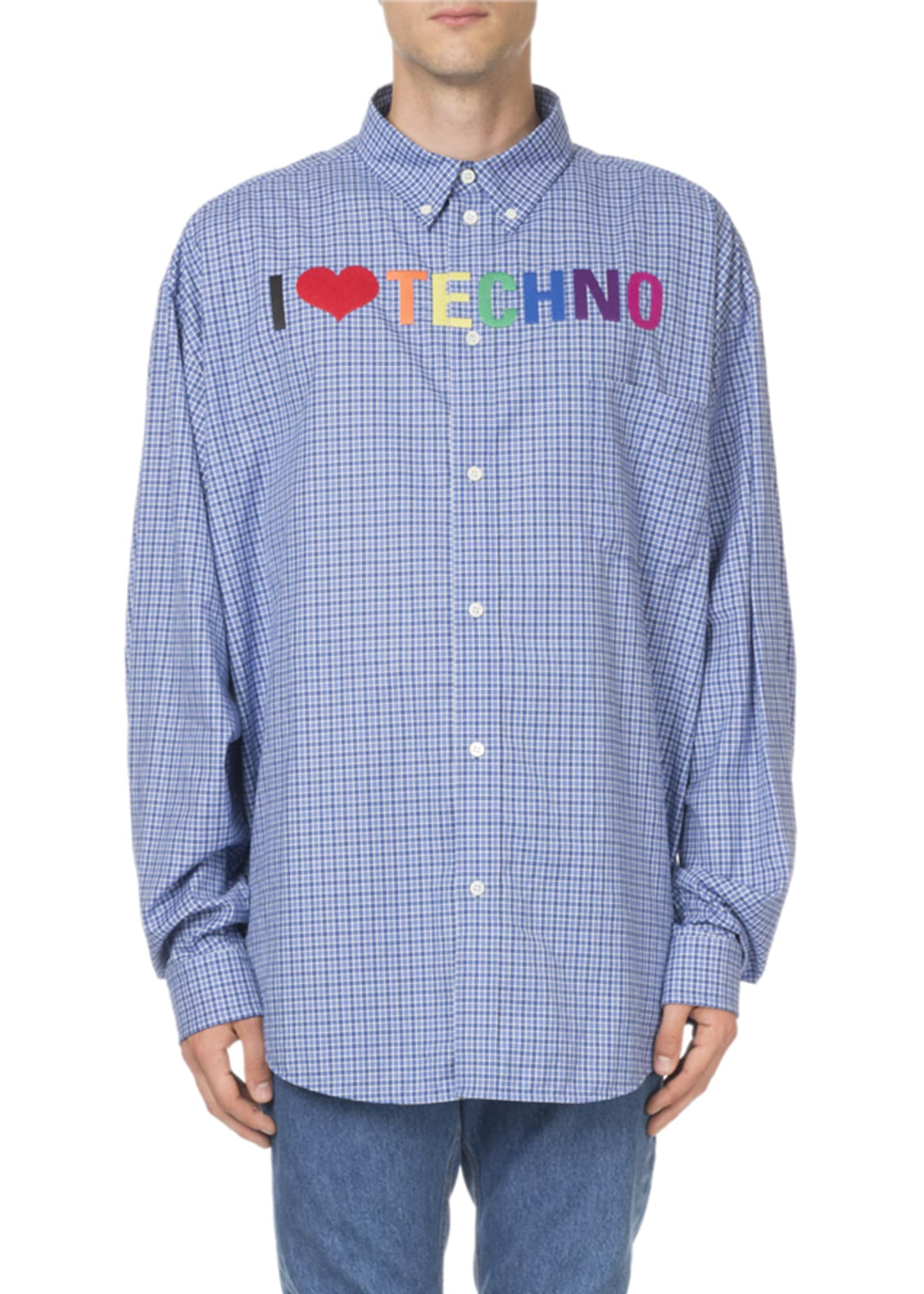 Balenciaga Men's I Love Techno Rainbow-Embroidered Check Sport
