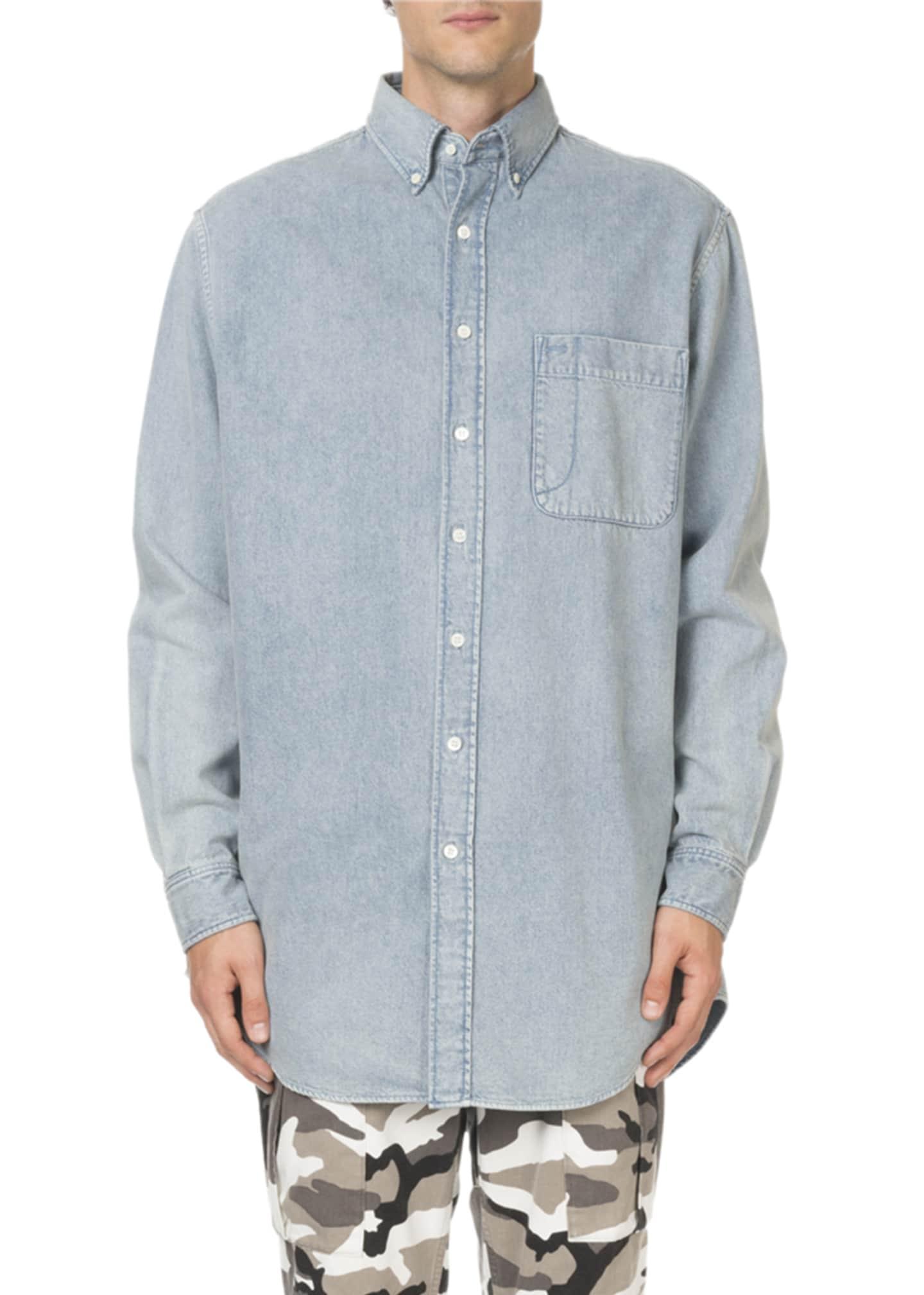 Balenciaga Men's Washed Denim Oversized Shirt with Logo