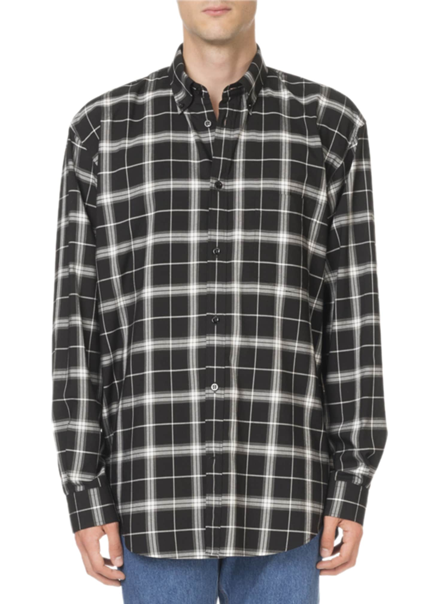 Balenciaga Men's Plaid Sport Shirt