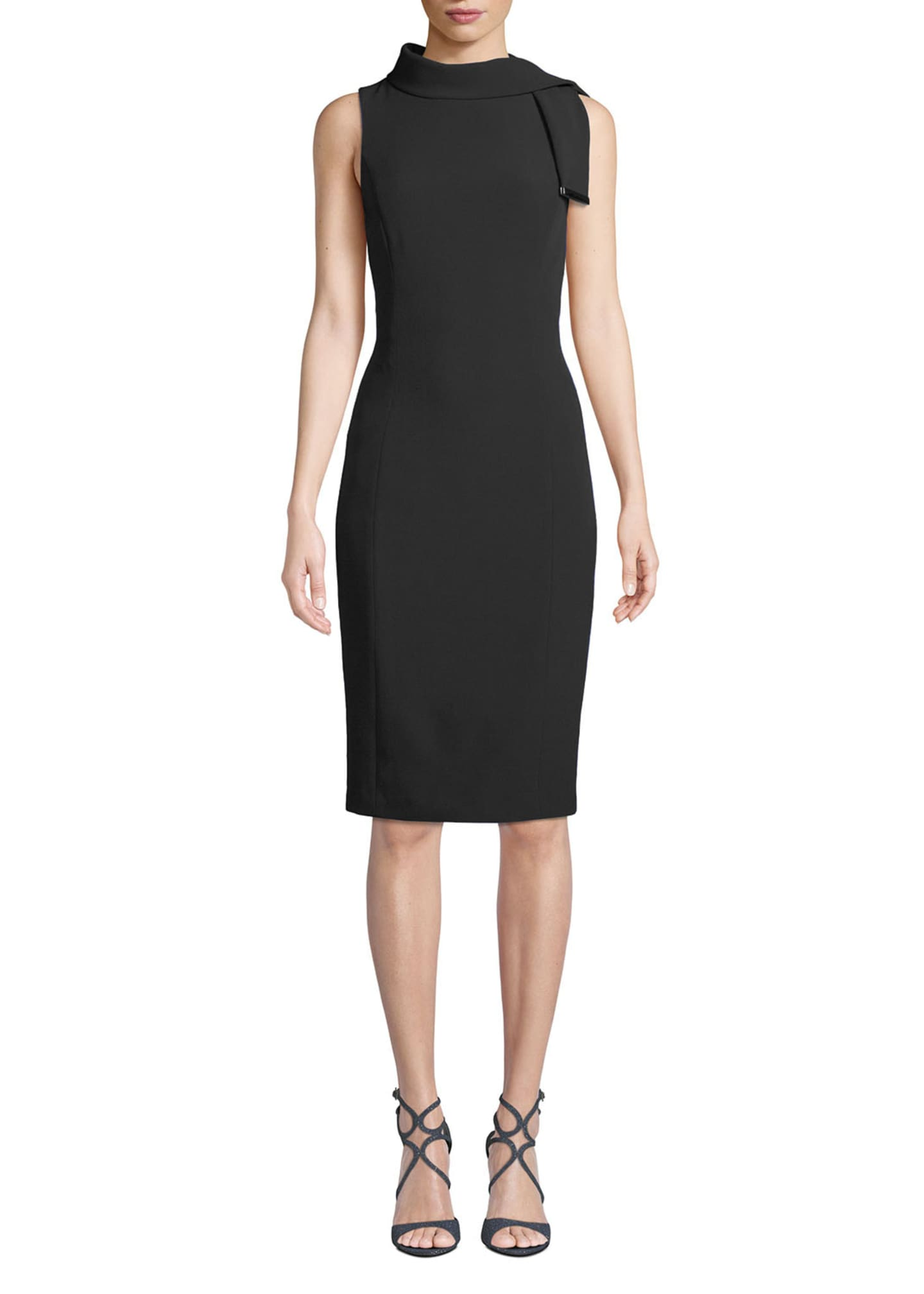 Badgley Mischka Collection Tie-Neck Sleeveless Stretch Crepe