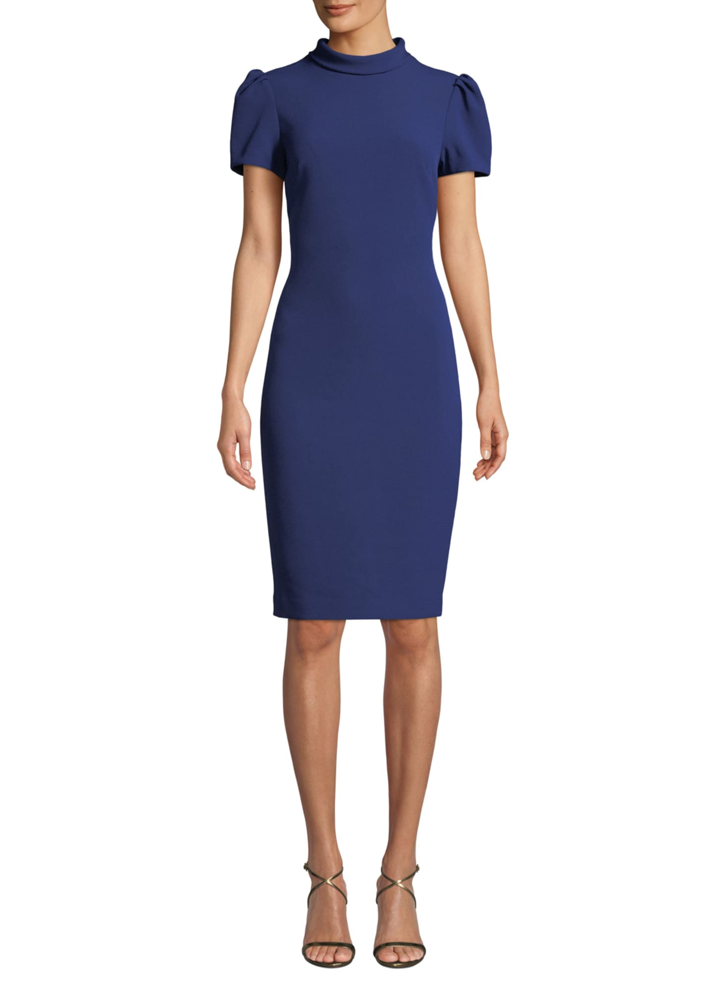 Badgley Mischka Collection Roll-Collar Puff-Sleeve Dress