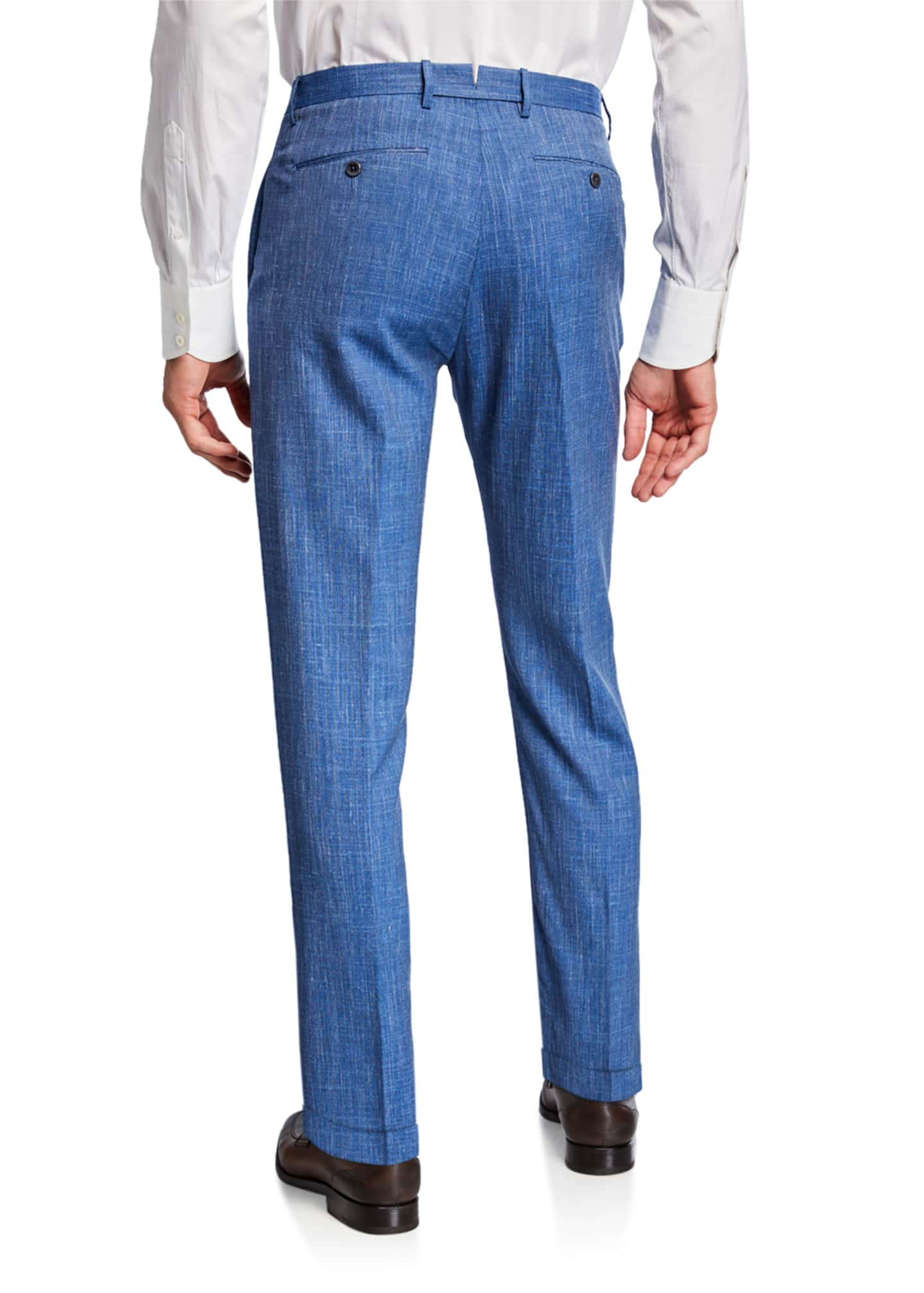 Image 2 of 3: Men's Slub Weave Dress Trousers