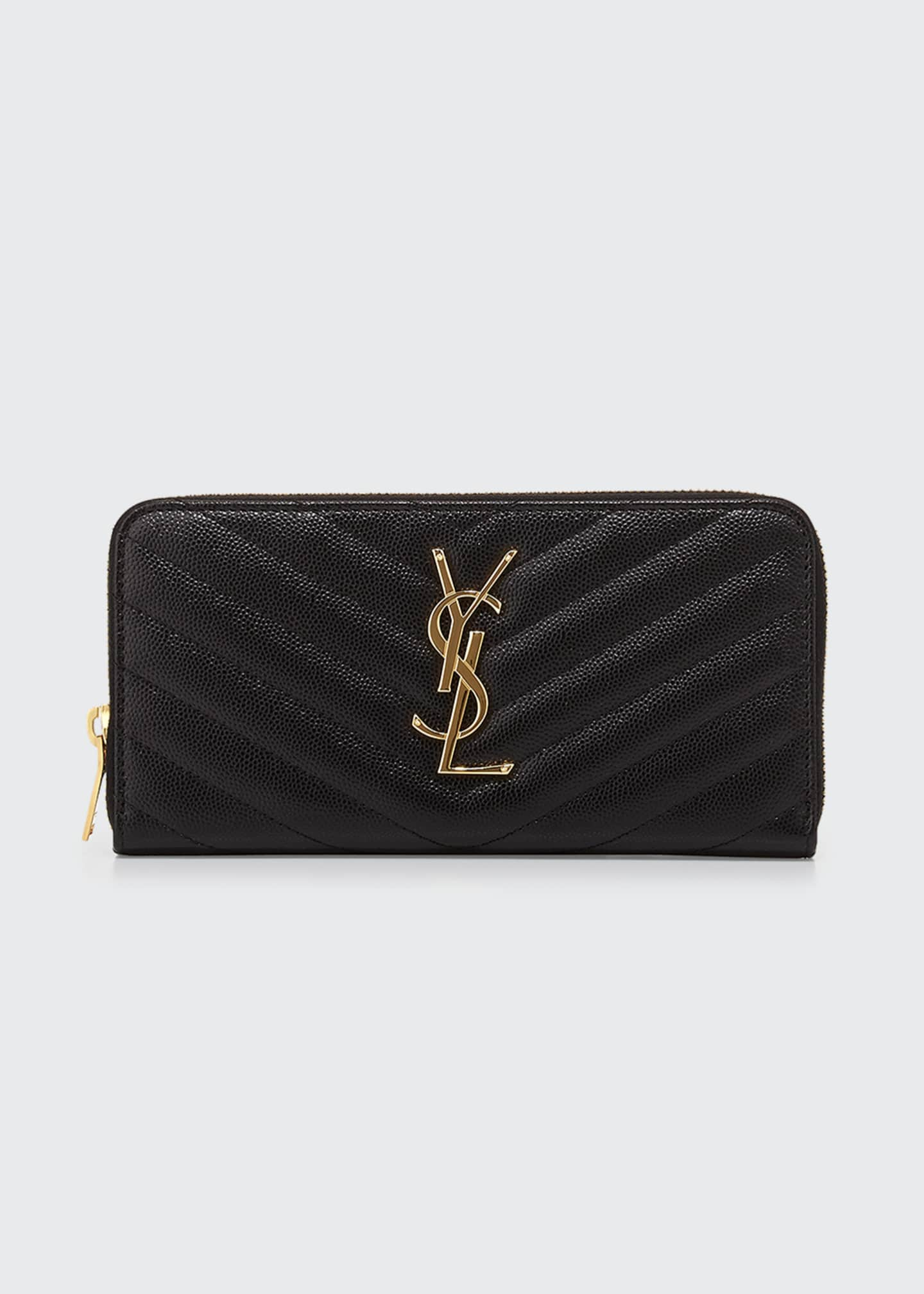Image 1 of 2: YSL Monogram Grain de Poudre Zip-Around Wallet