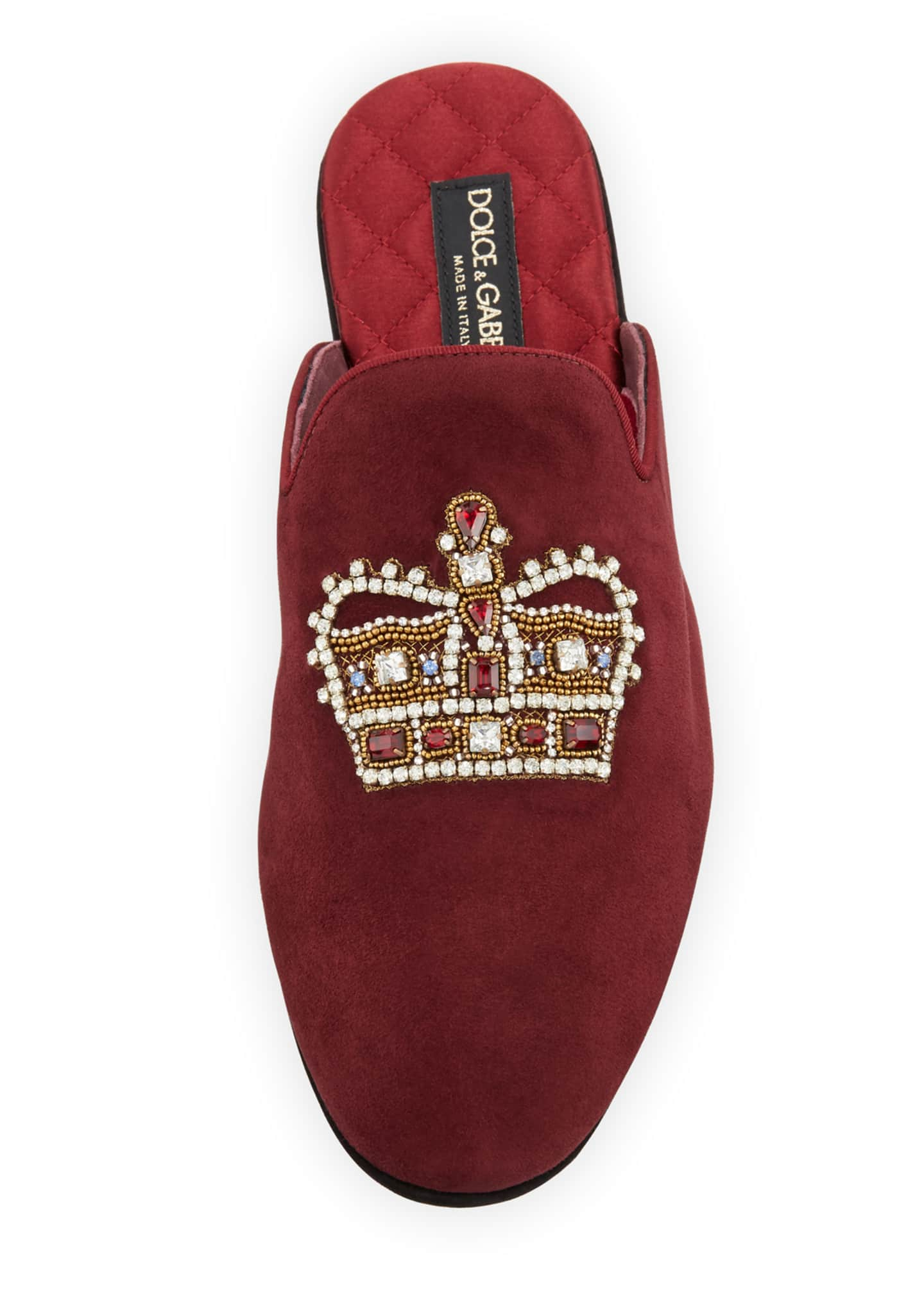 Image 2 of 3: Men's Da Camera Embellished Suede Slippers
