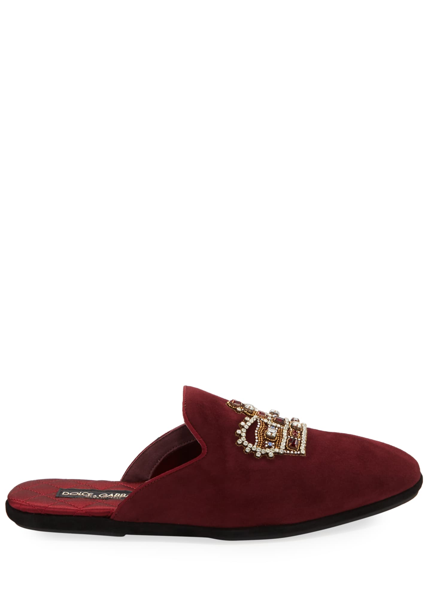 Image 3 of 3: Men's Da Camera Embellished Suede Slippers