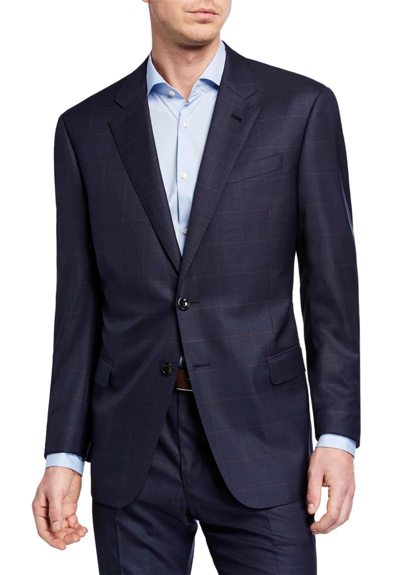 Giorgio Armani Men's Plaid Super 180s Wool Two-Piece