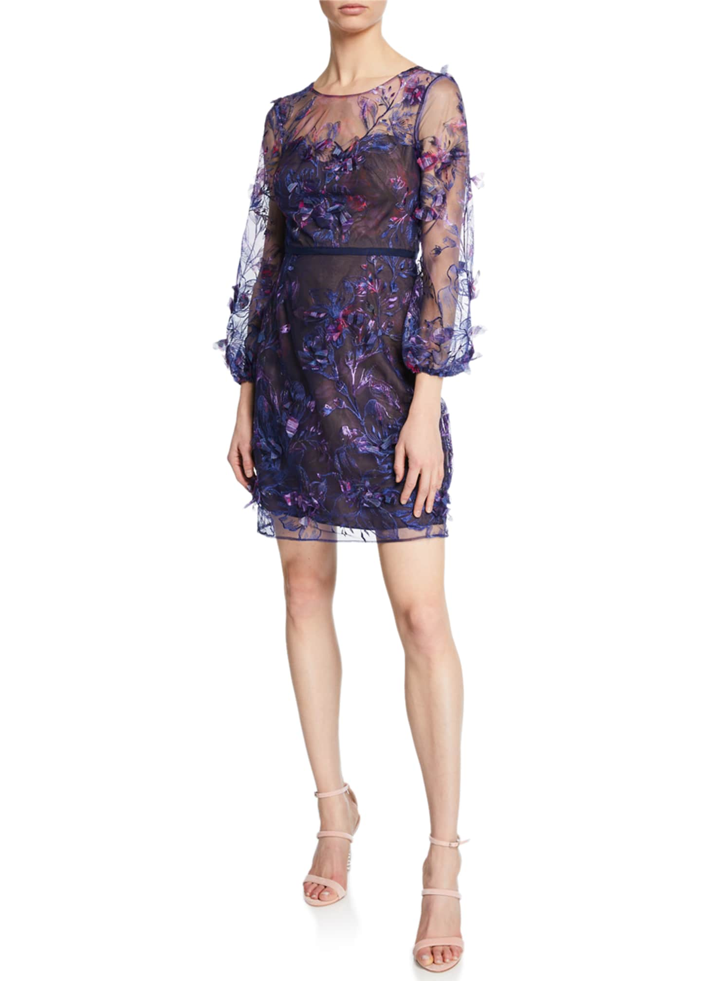 Marchesa Notte Sweetheart Illusion 3/4-Sleeve Embroidered Dress