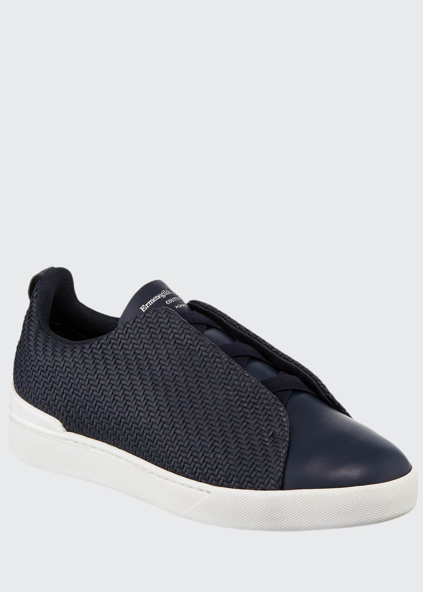 Ermenegildo Zegna Men's Triple Stitch Pelle Low-Top Sneakers