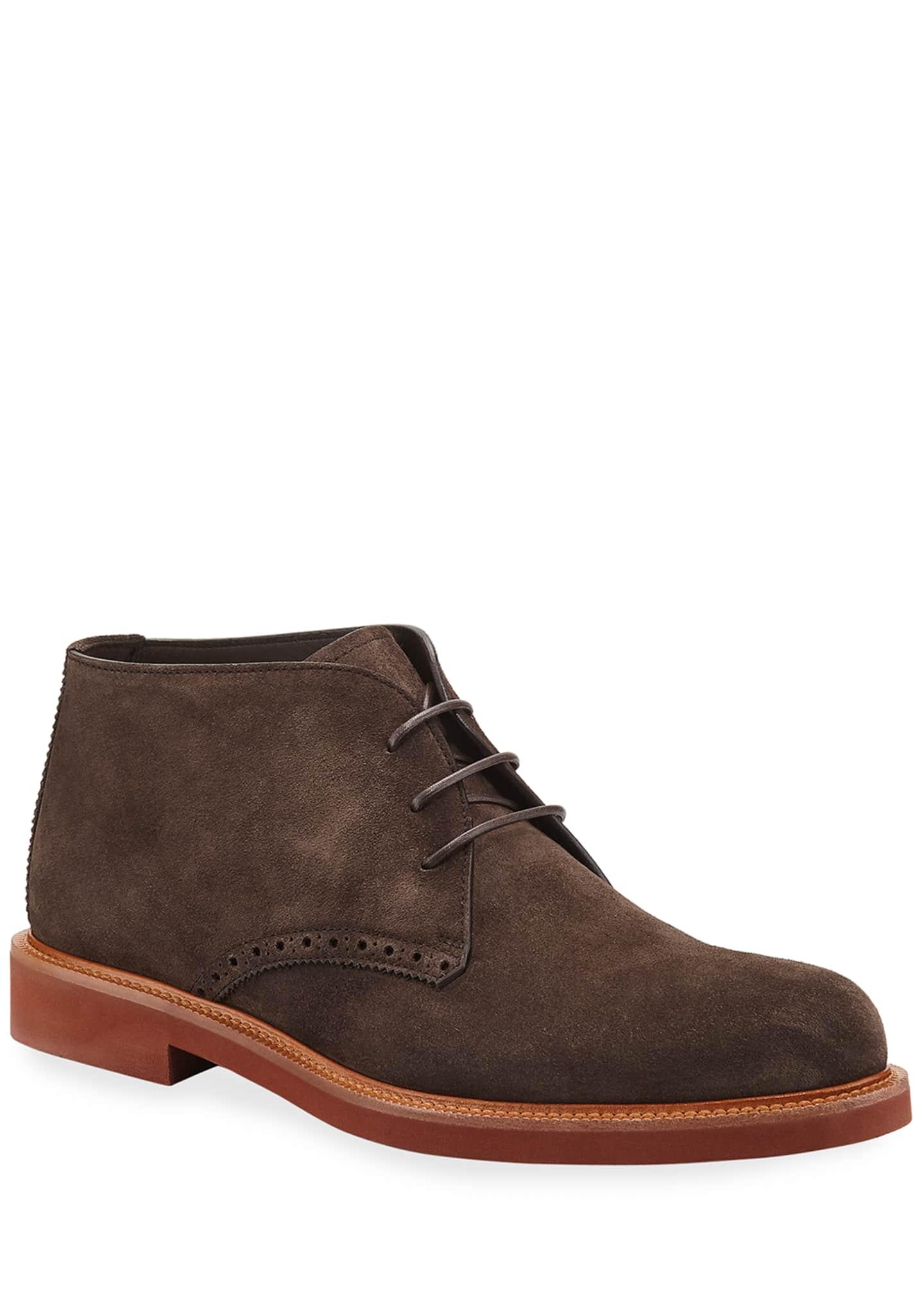 Ermenegildo Zegna Men's Trivero Suede Chukka Boots w/