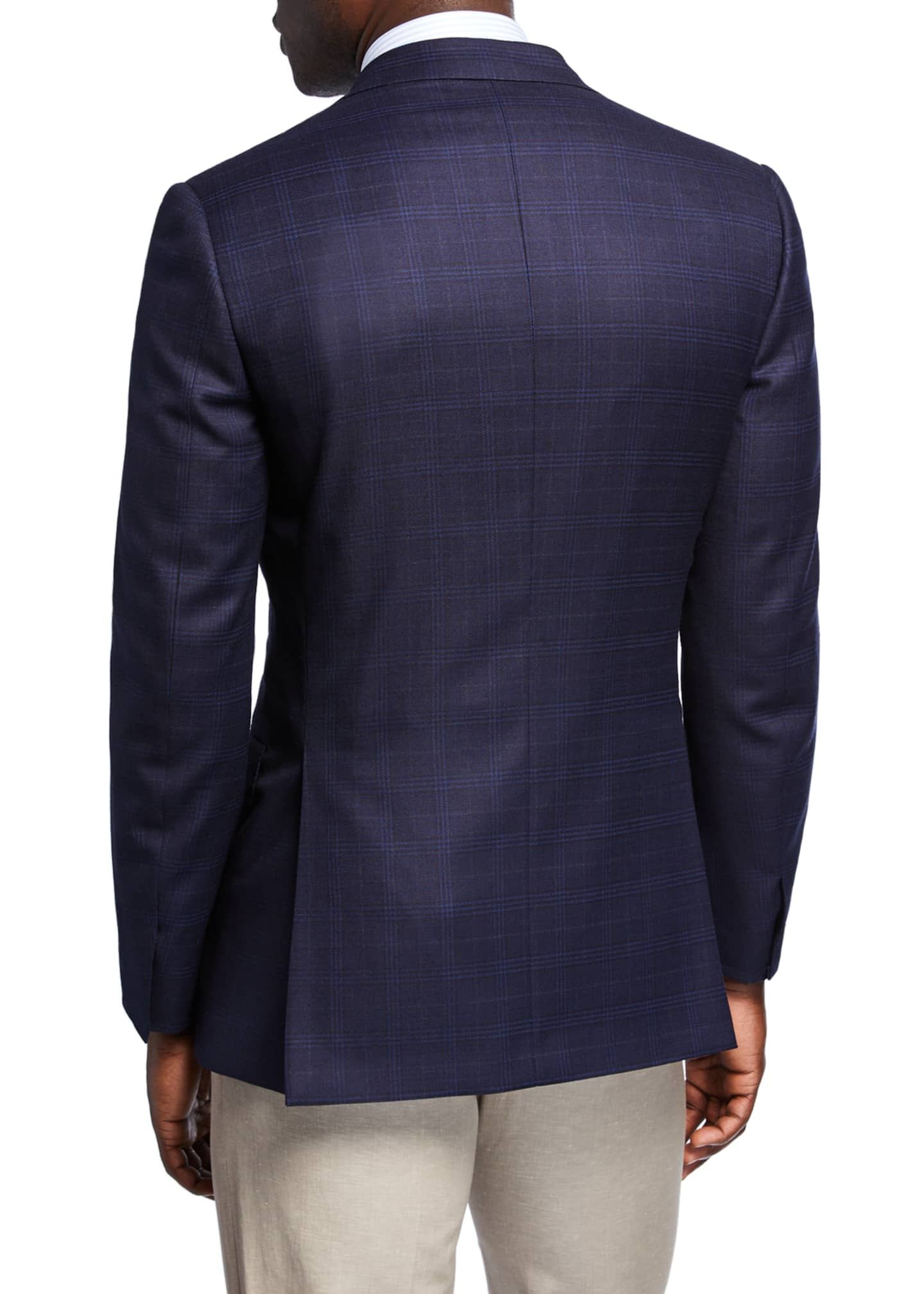 Image 2 of 3: Men's Plaid Wool-Silk Two-Button Jacket