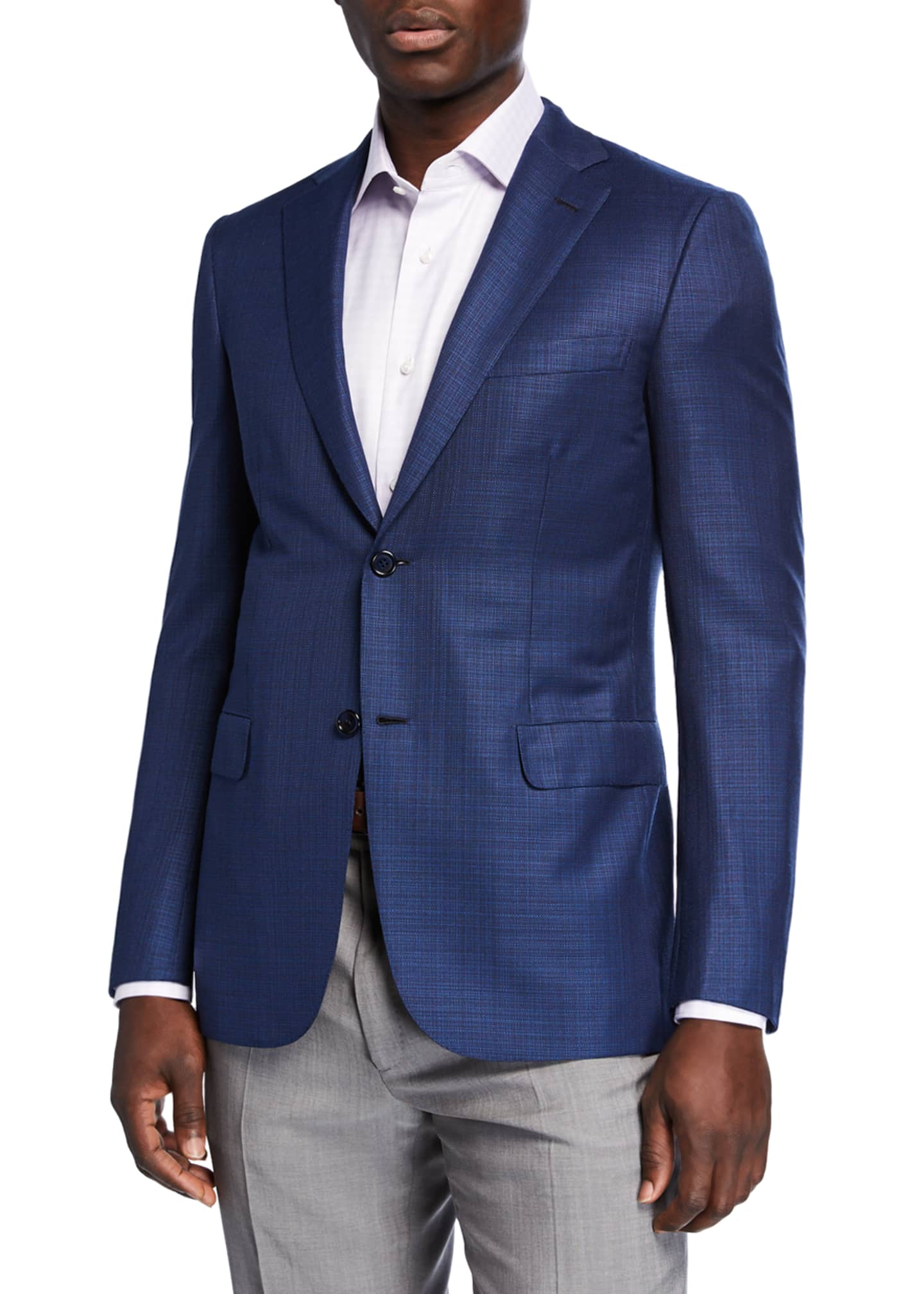 Image 1 of 3: Men's Textured Wool Two-Button Jacket