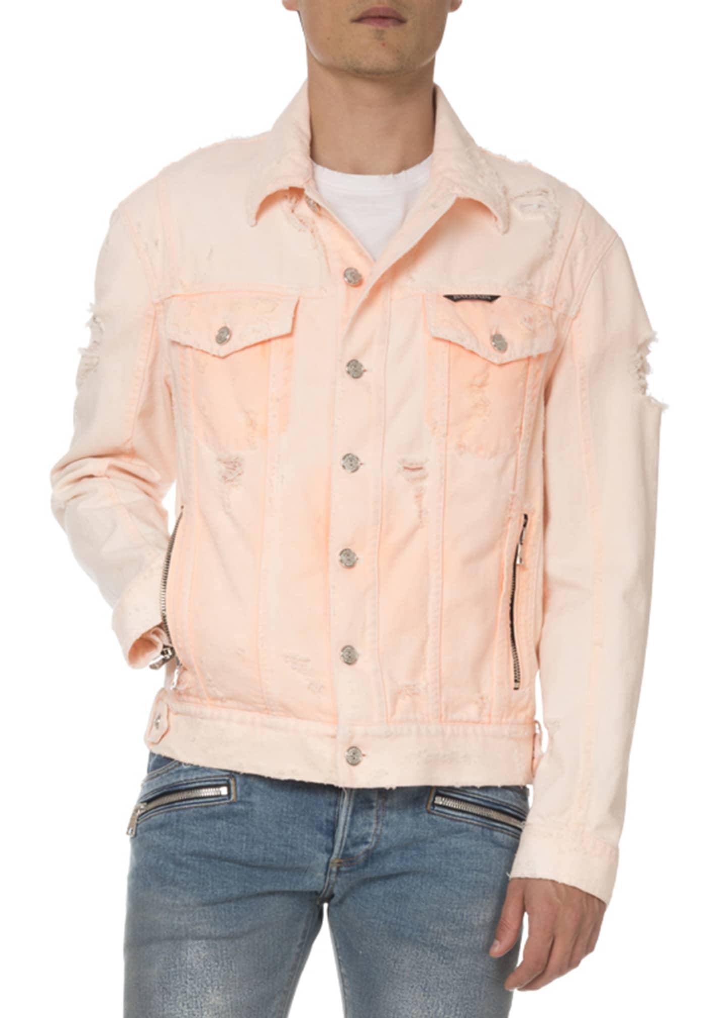 Balmain Men's Distressed Neon Denim Jacket
