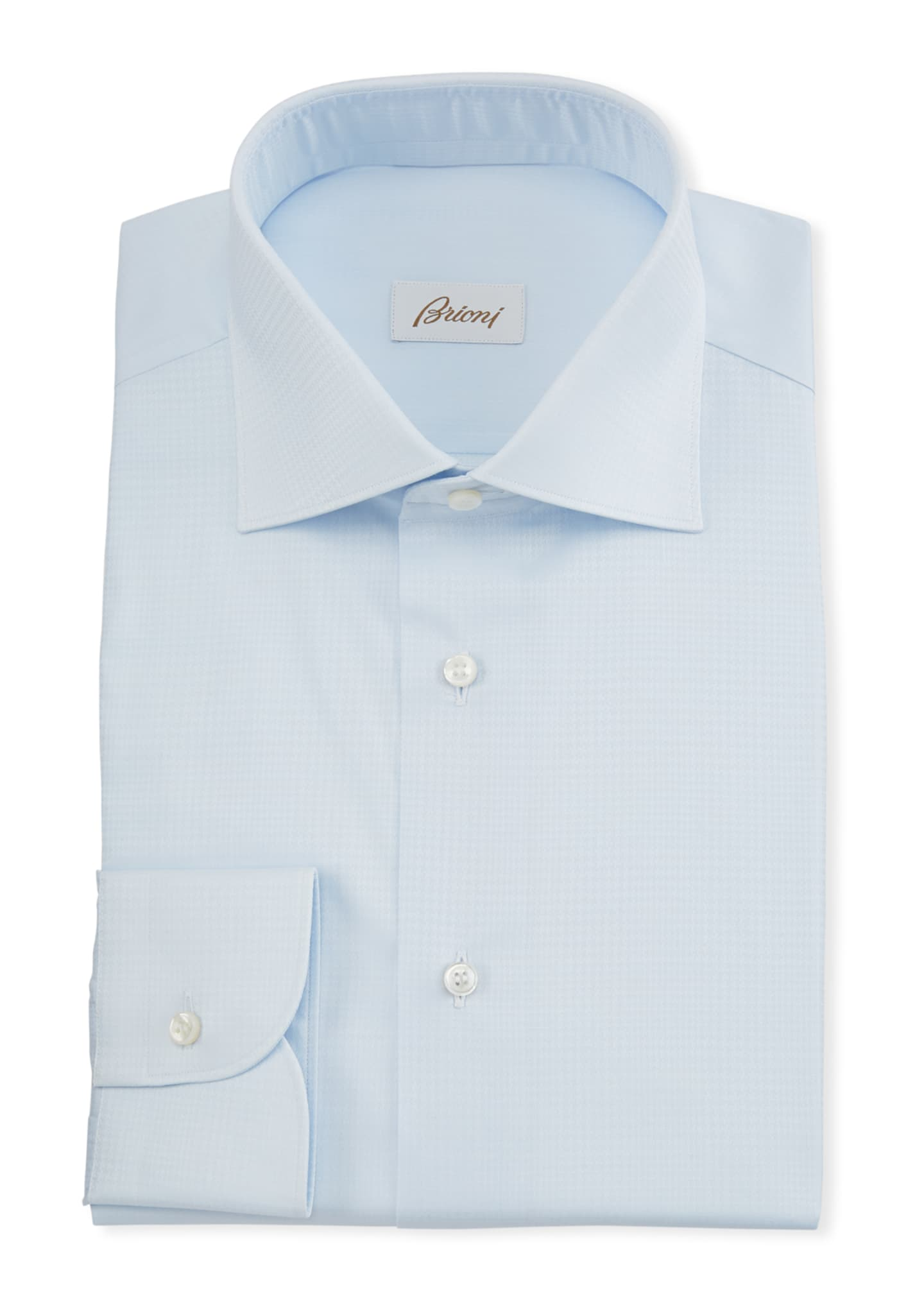 Brioni Men's Plaid Jacquard Dress Shirt