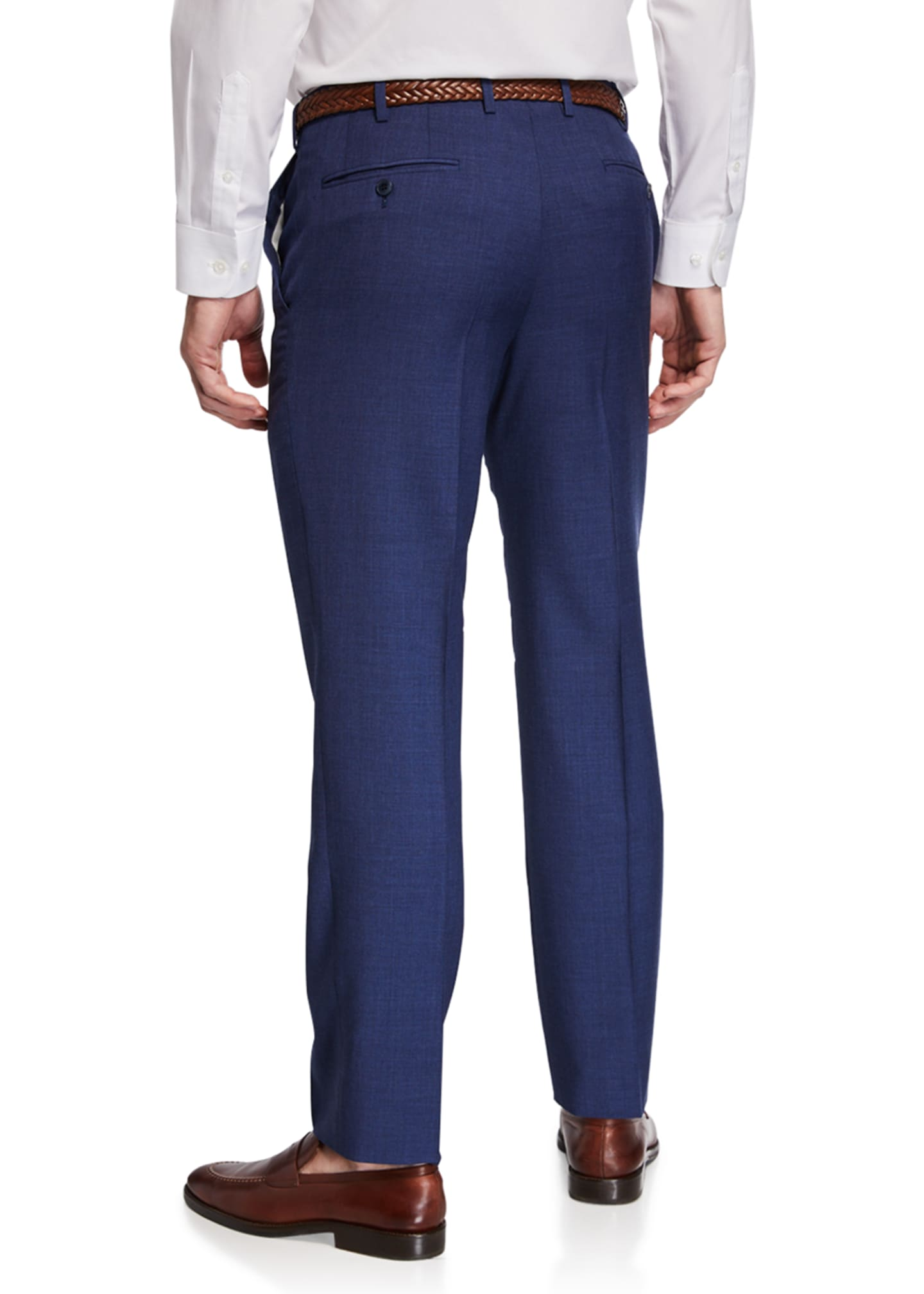 Image 2 of 3: Men's Flat-Front Wool Trousers