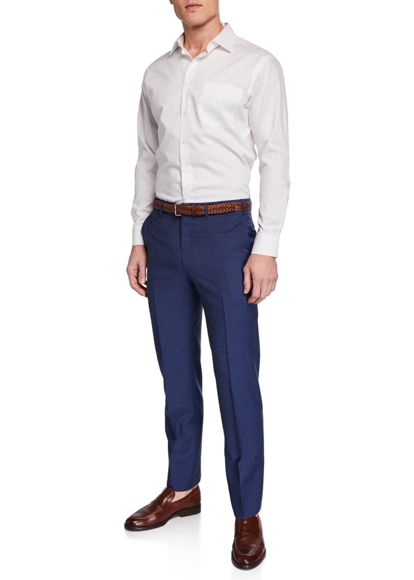 Image 3 of 3: Men's Flat-Front Wool Trousers