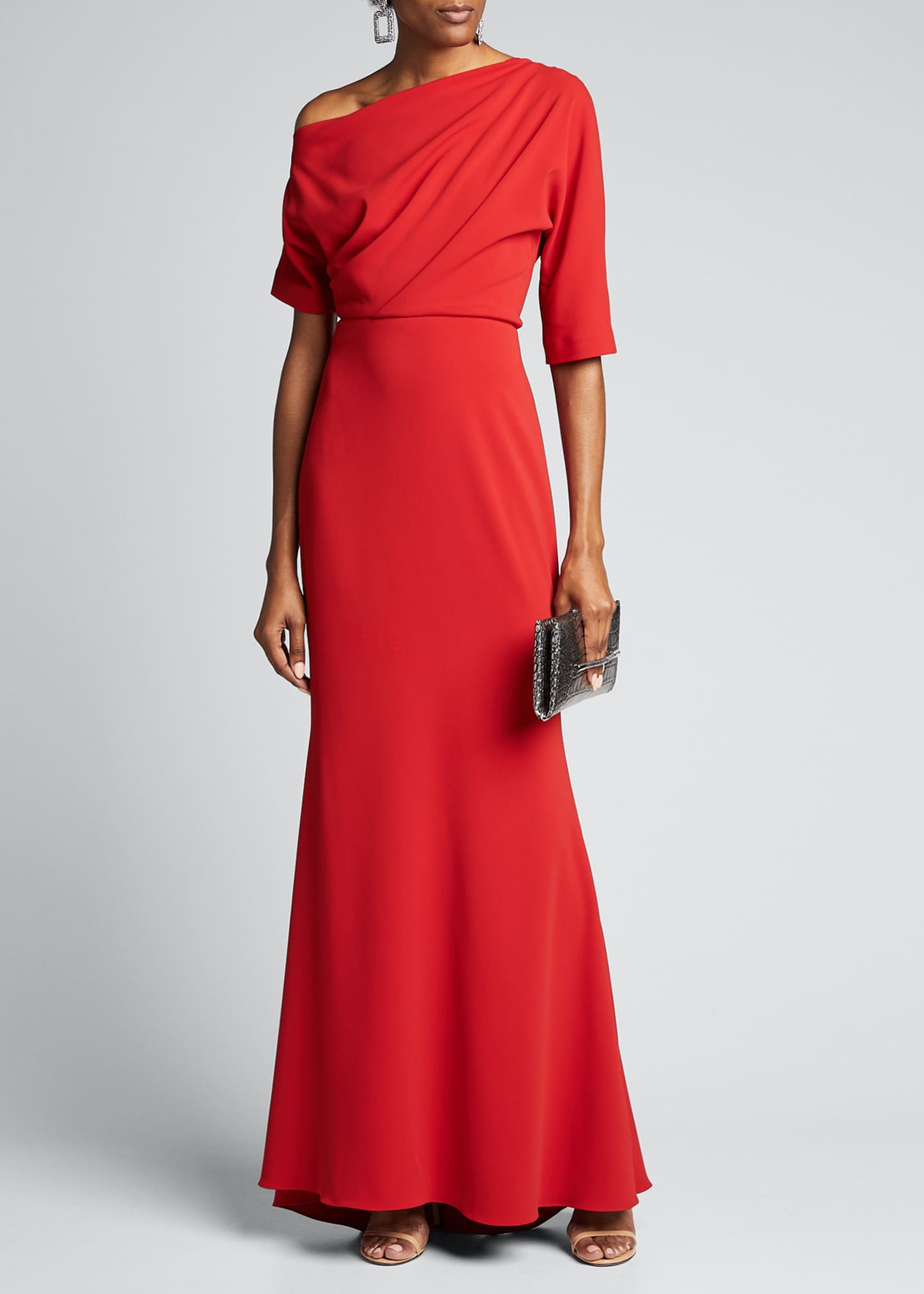 Badgley Mischka Collection Asymmetric One-Shoulder Elbow-Sleeve