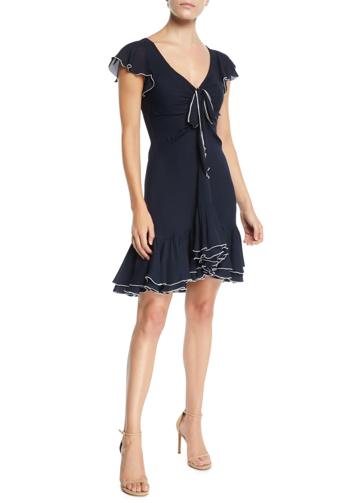 cinq a sept Mateo Silk Short-Sleeve Flounce Dress