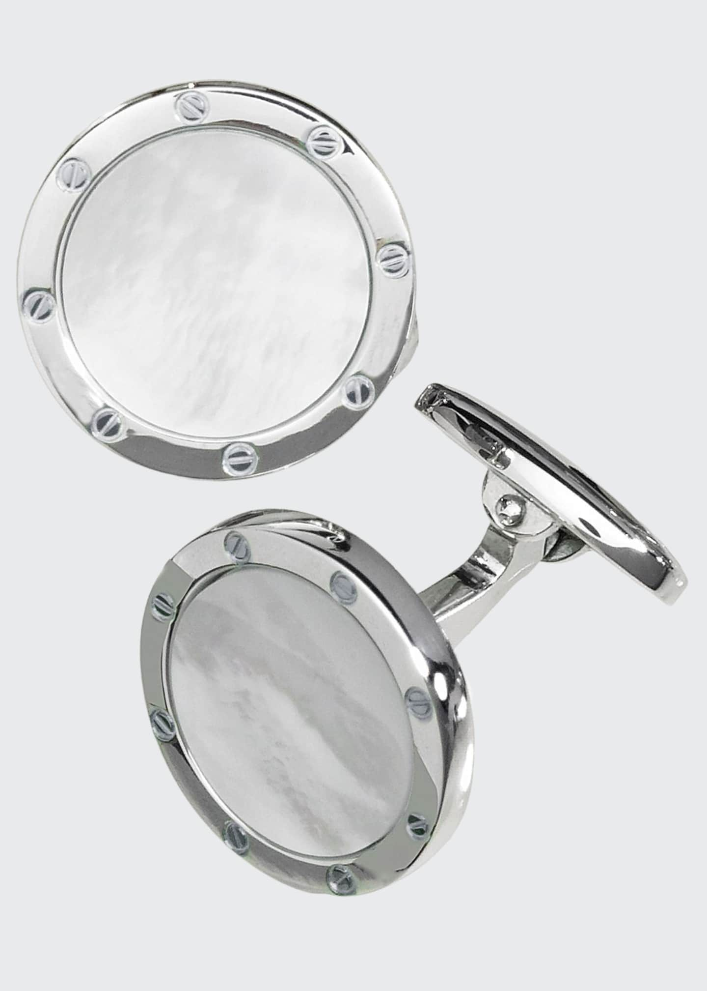 Image 1 of 1: Round Mother-of-Pearl Cuff Links