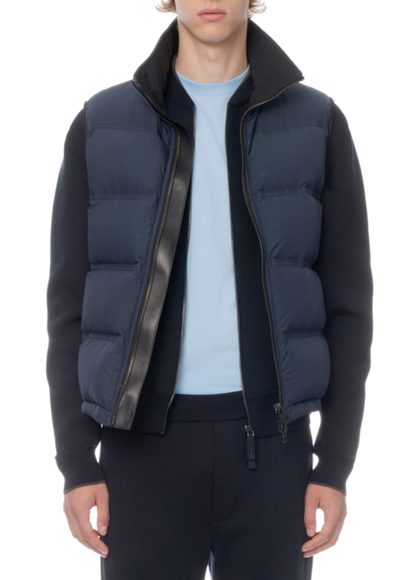 Berluti Men's Leather-Trim Zip-Front Down Vest