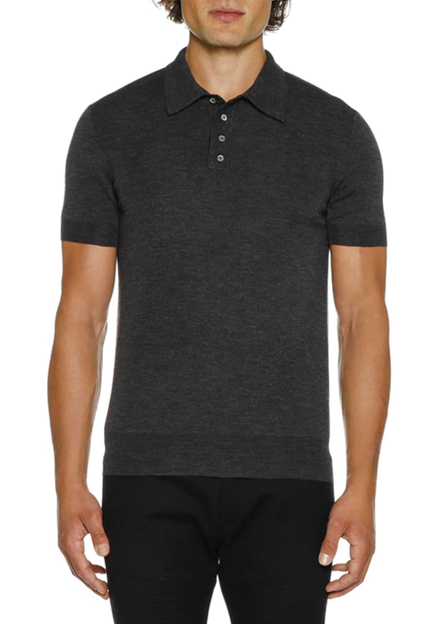 low cost sneakers pretty cool Neil Barrett Men's Short-Sleeve Knitted Polo Shirt - Bergdorf Goodman