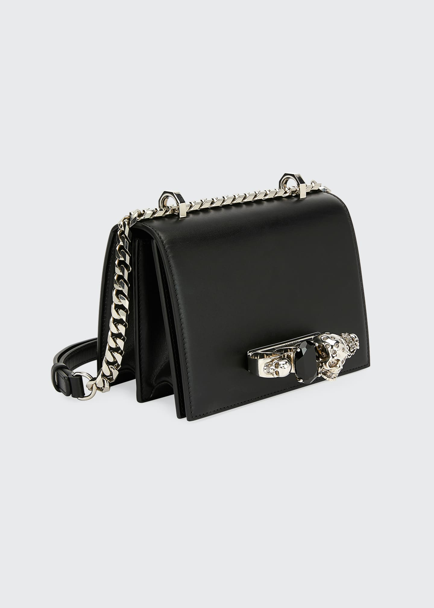 Image 2 of 2: Small Jeweled Knuckle Flap Shoulder Bag