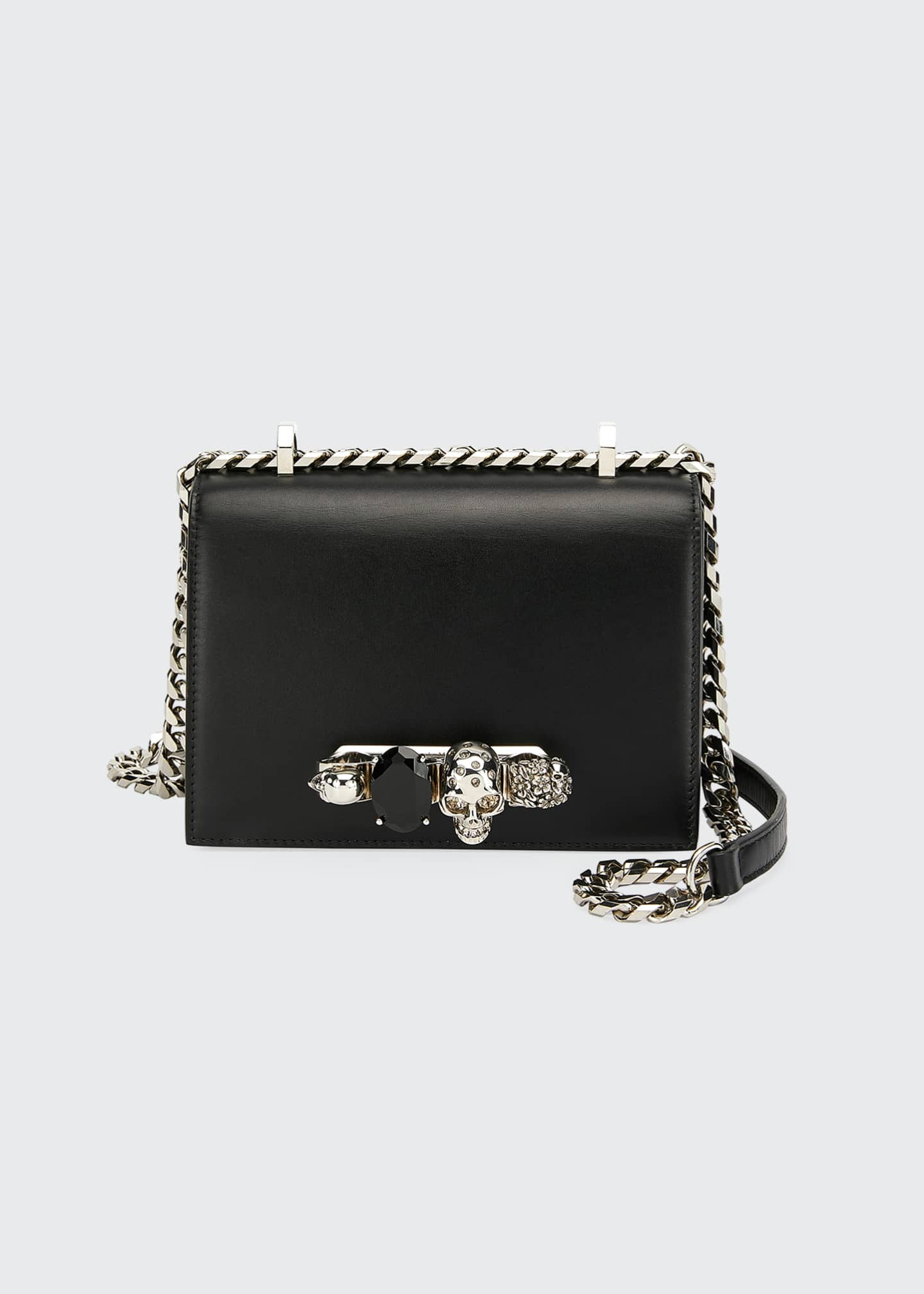 Image 1 of 2: Small Jeweled Knuckle Flap Shoulder Bag