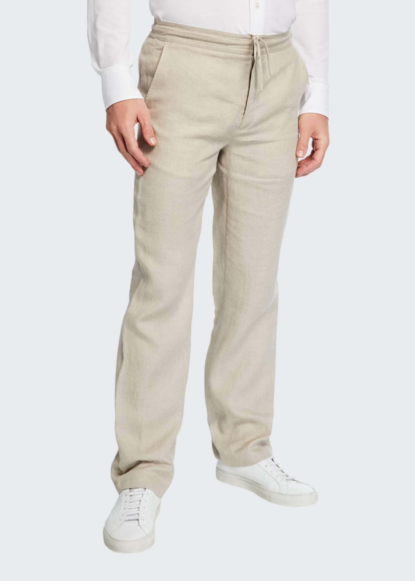Brioni Men's Linen Drawstring Straight-Leg Pants