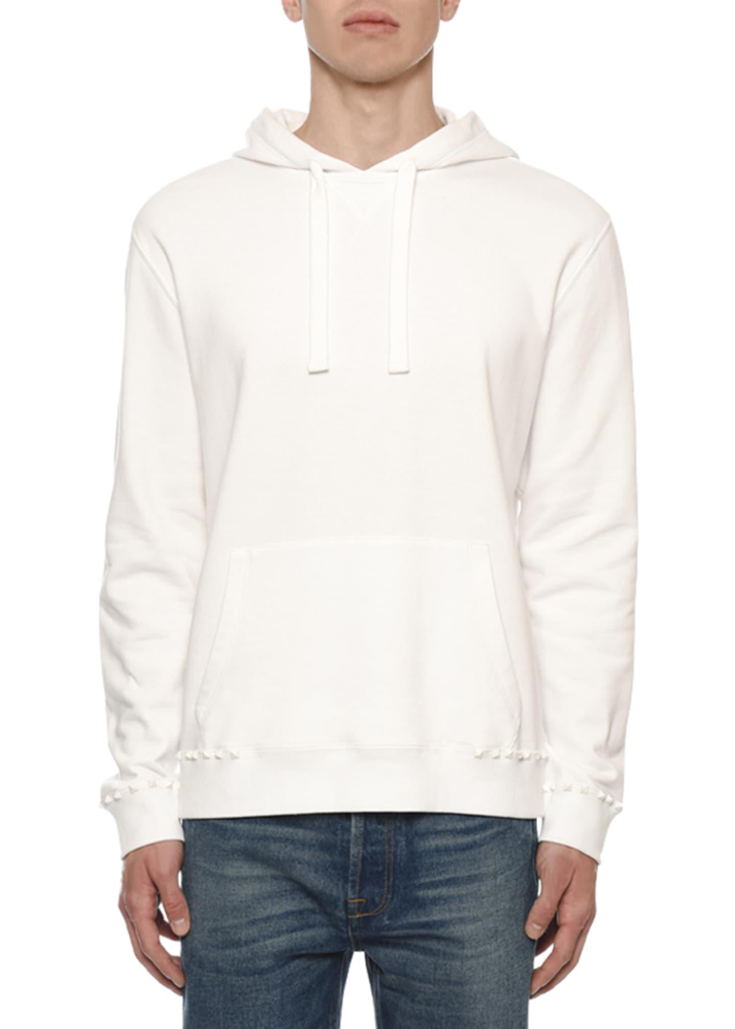 Valentino Men's Rockstud-Trim Jersey Pullover Hoodie
