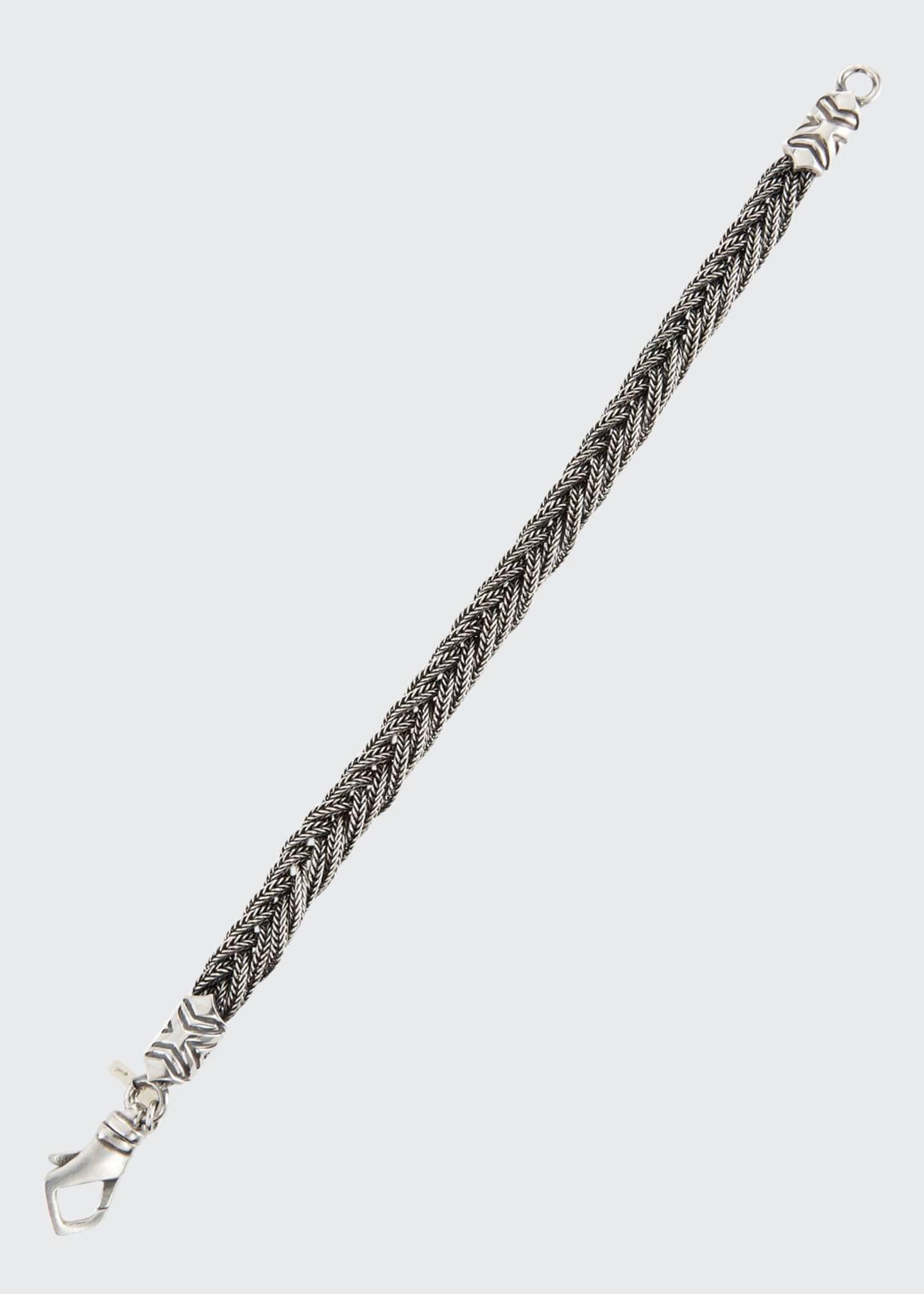 Emanuele Bicocchi Men's Fishtail-Braid Sterling Silver Bracelet