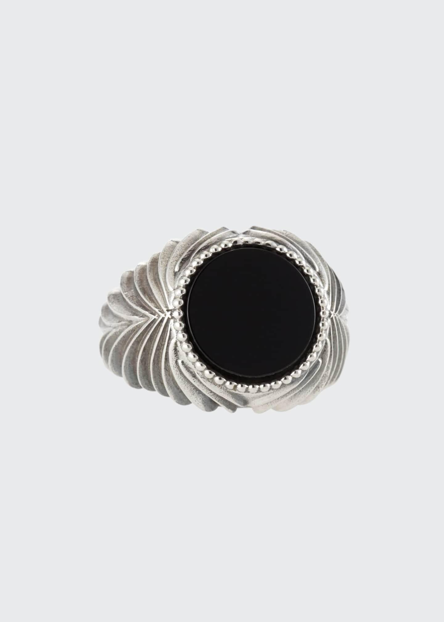 Emanuele Bicocchi Men's Feathered Black Onyx Ring