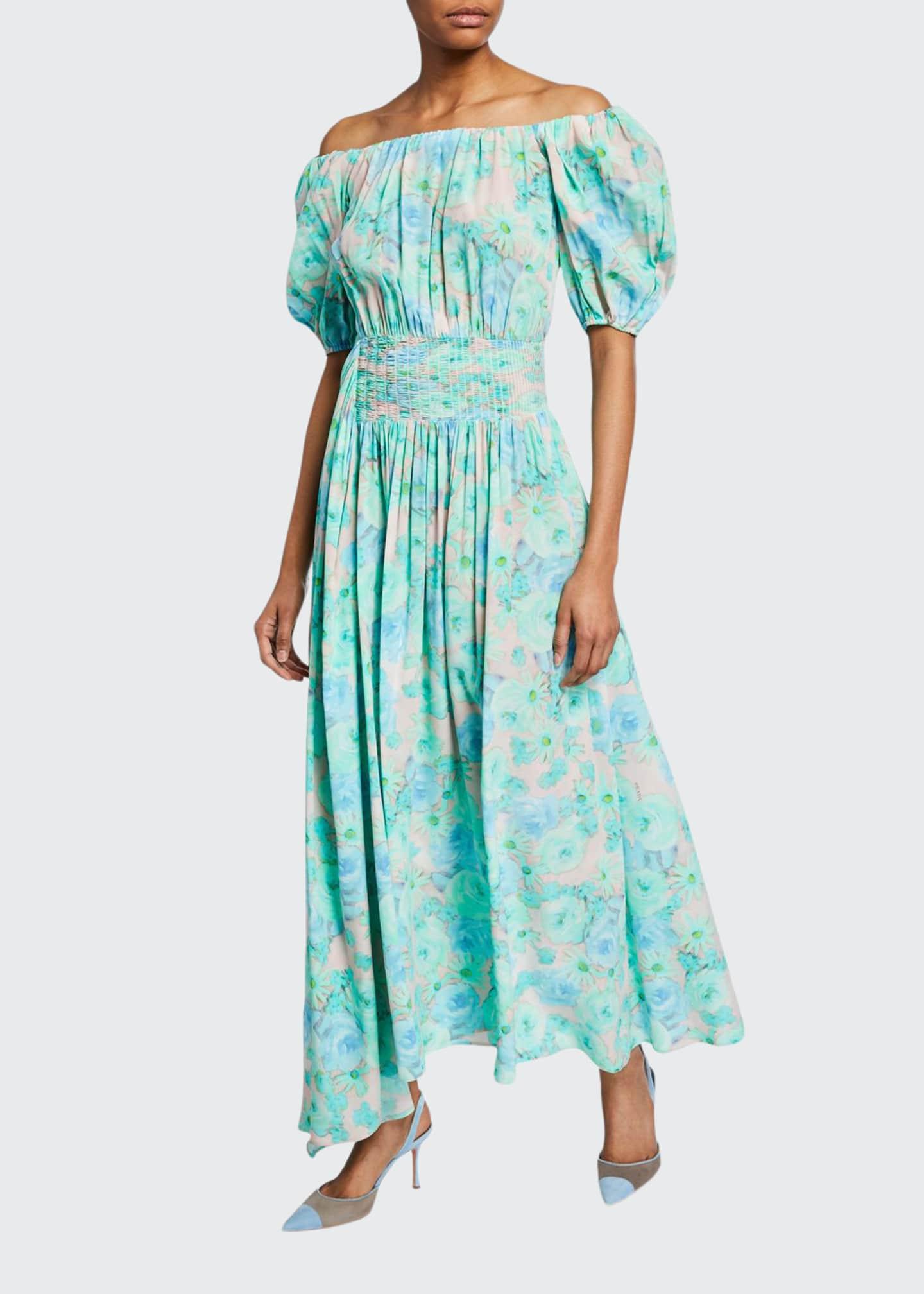 Prada Floral-Print Off-the-Shoulder Silk Dress