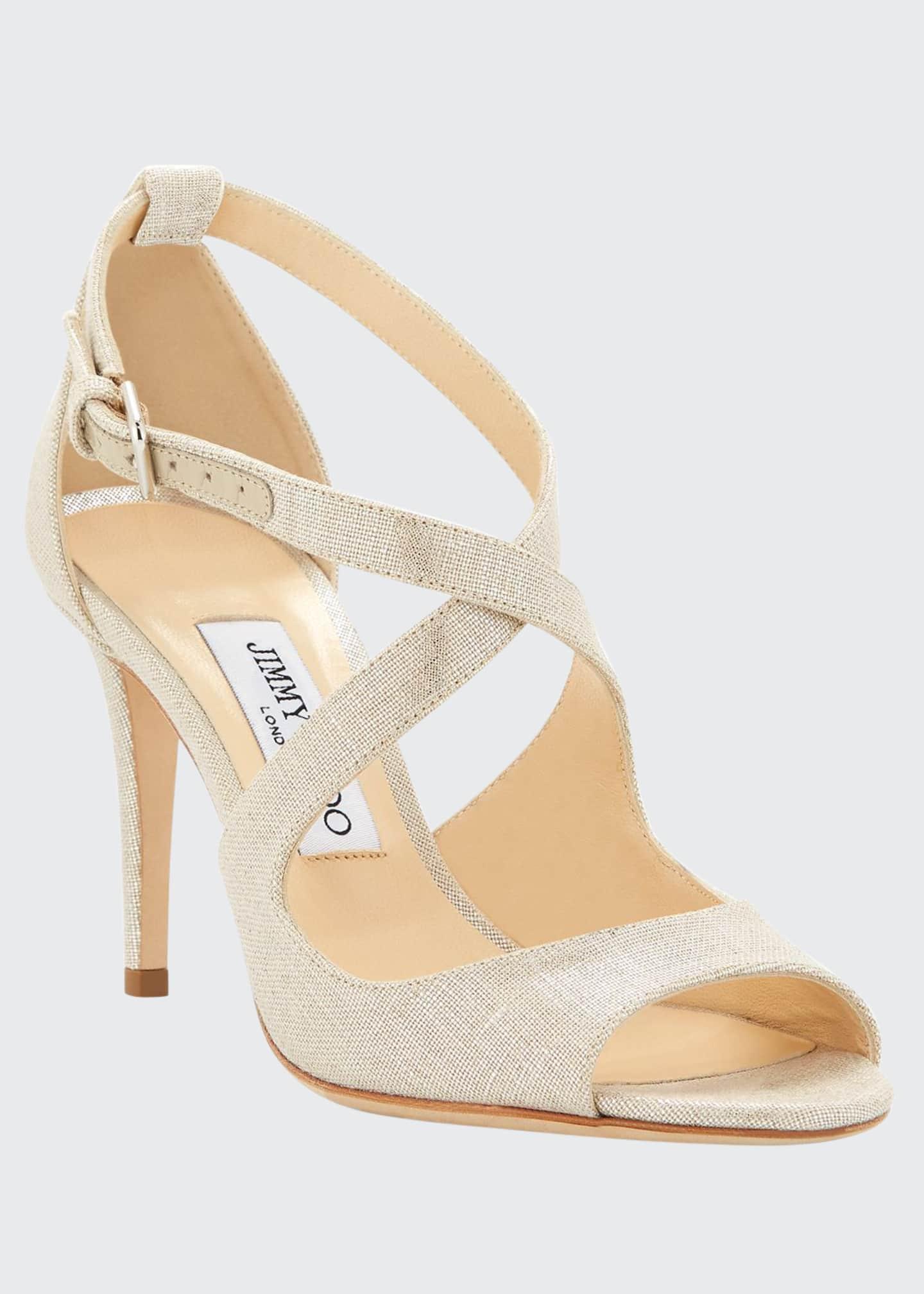Jimmy Choo Emily Metallic Woven Sandals