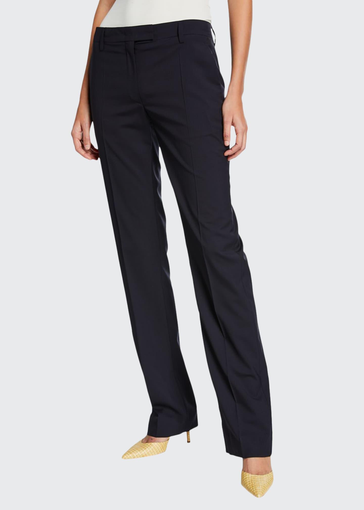 Prada Lightweight Wool Straight-Leg Pants