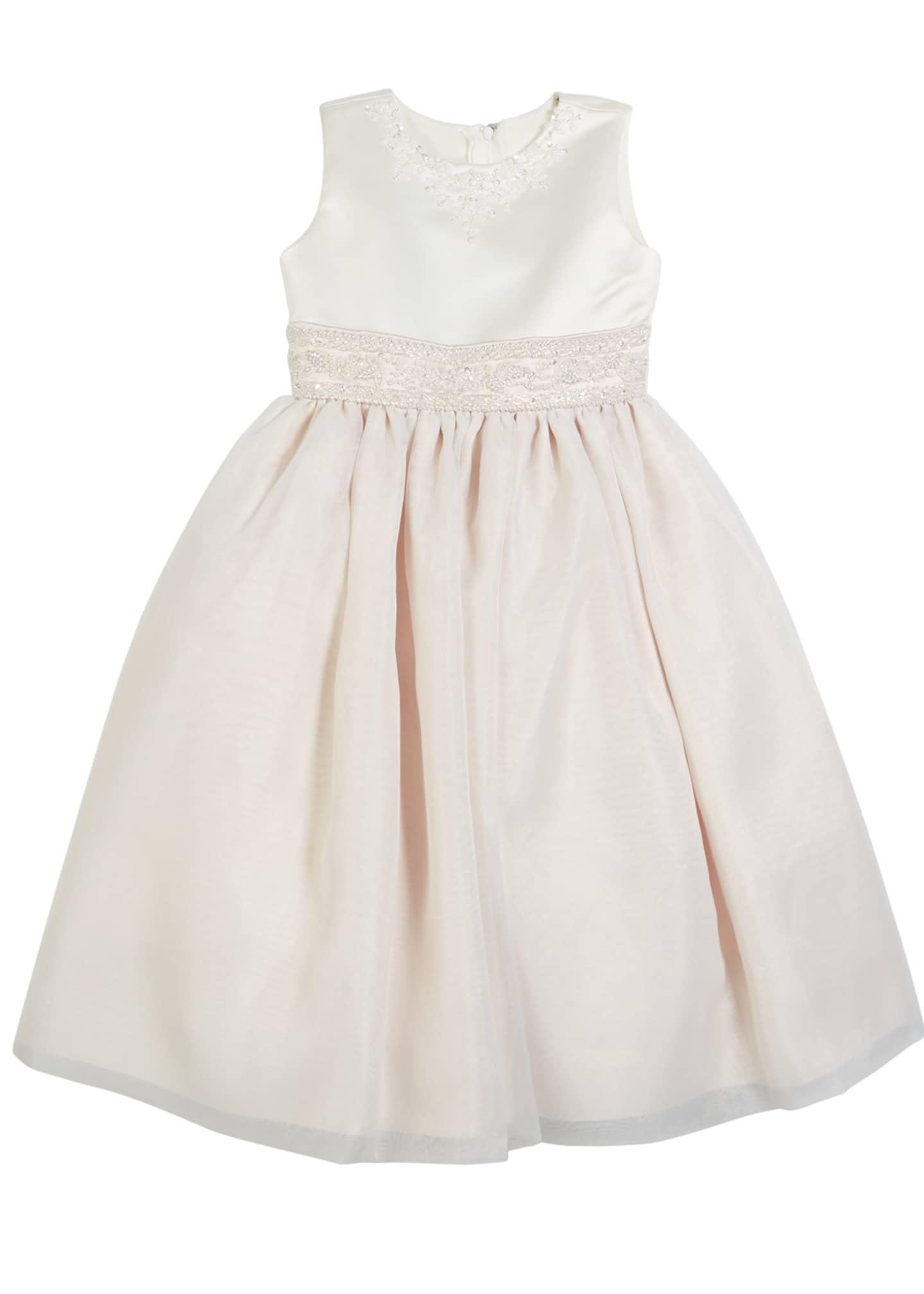 Joan Calabrese Satin & Organza Beaded Dress, Size