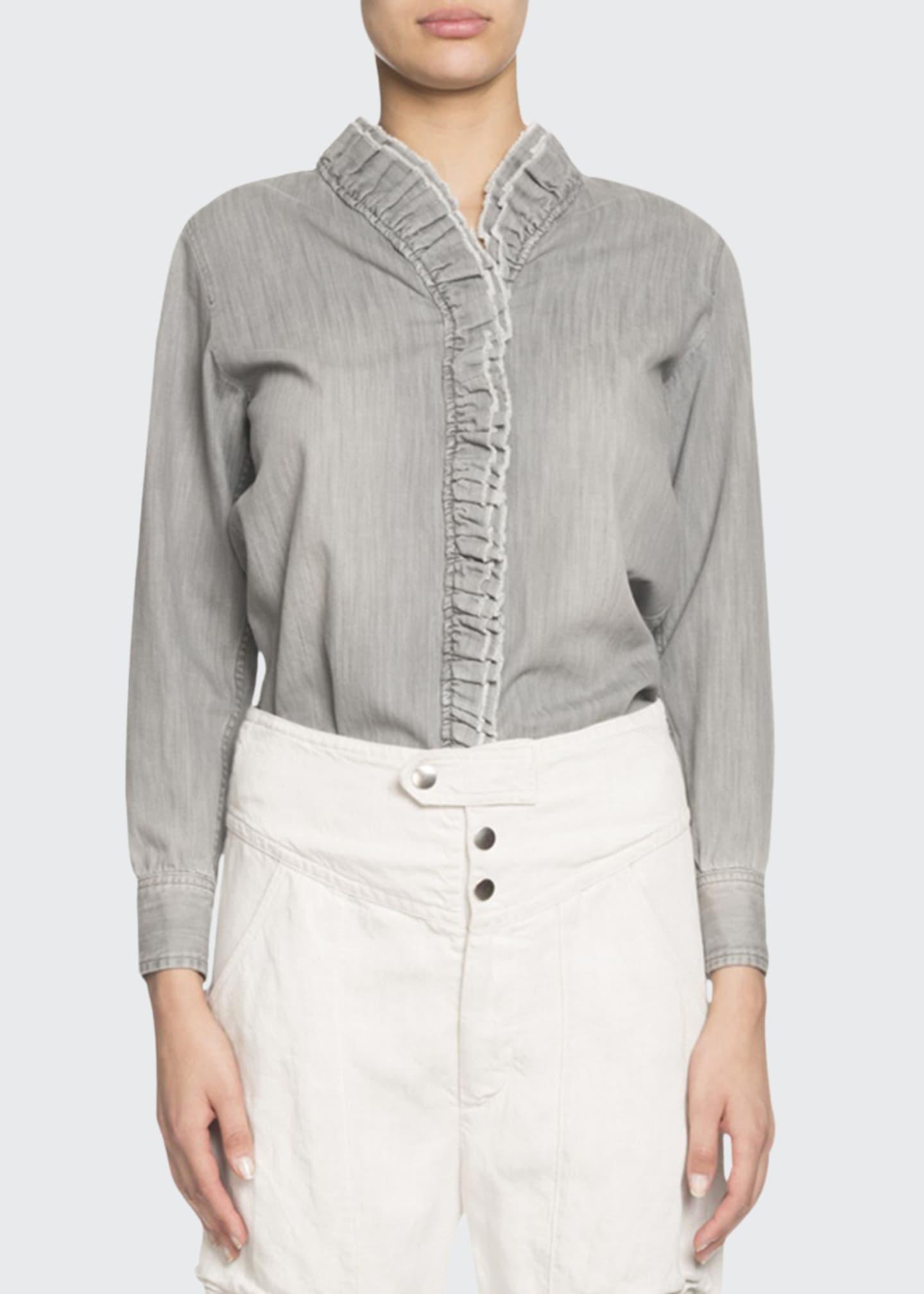Etoile Isabel Marant Nawendy Denim Long-Sleeve Ruffle Top