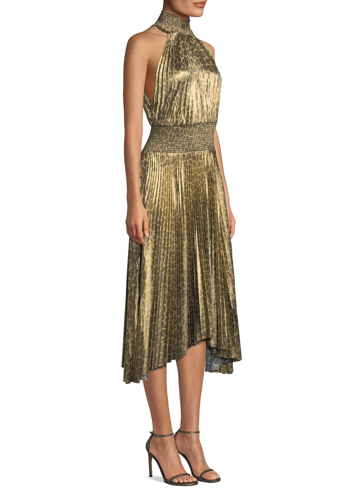 Image 3 of 3: Renzo High-Neck Pleated Midi Dress