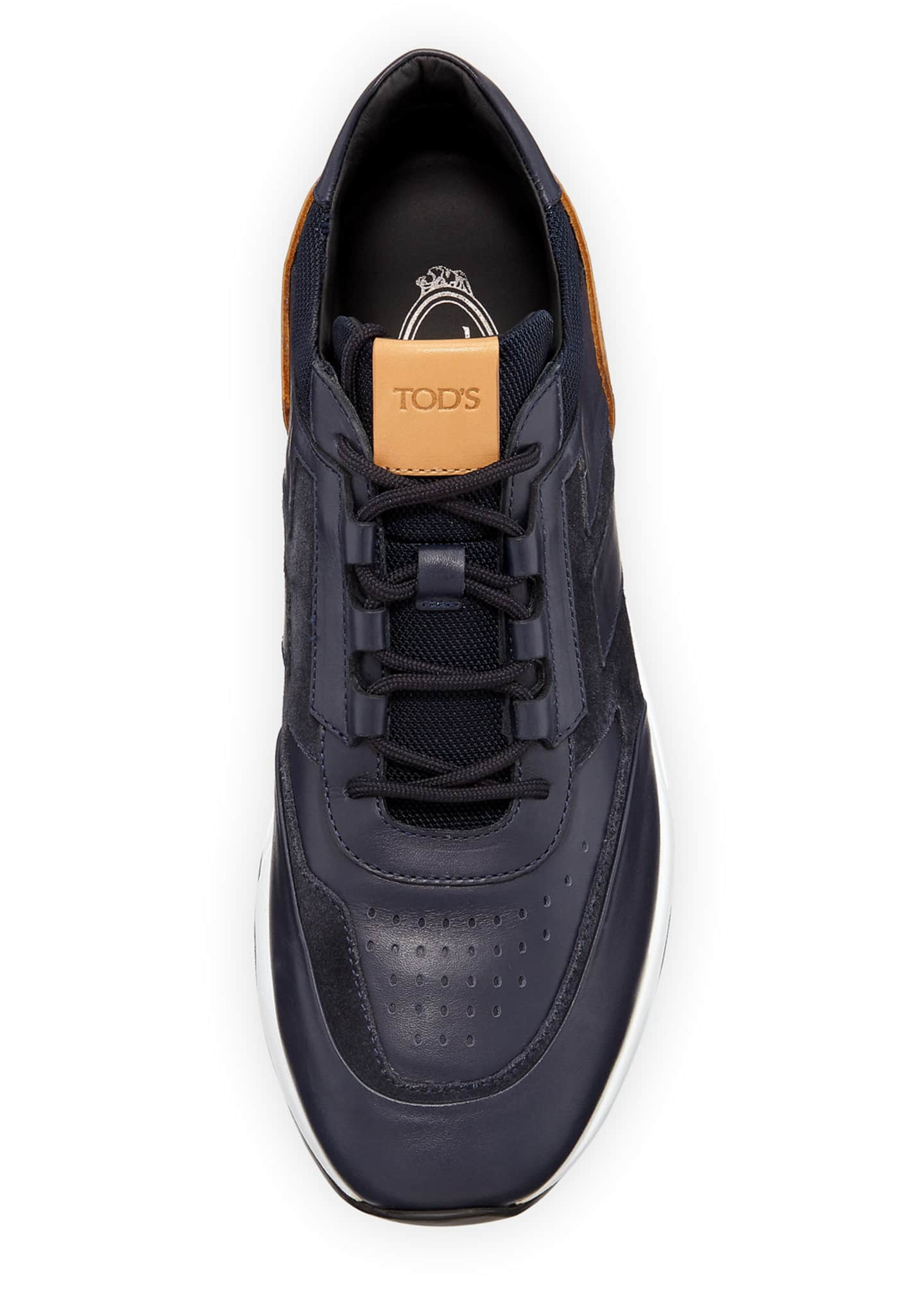 Image 2 of 3: Men's 56-B Mesh & Leather Trainer Sneakers, Navy