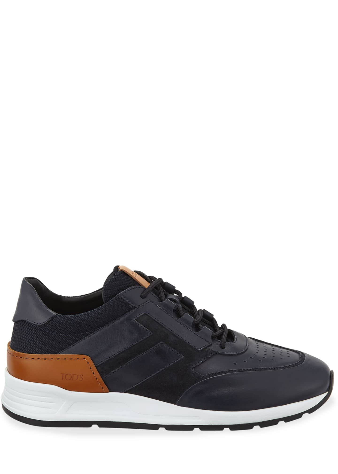 Image 3 of 3: Men's 56-B Mesh & Leather Trainer Sneakers, Navy