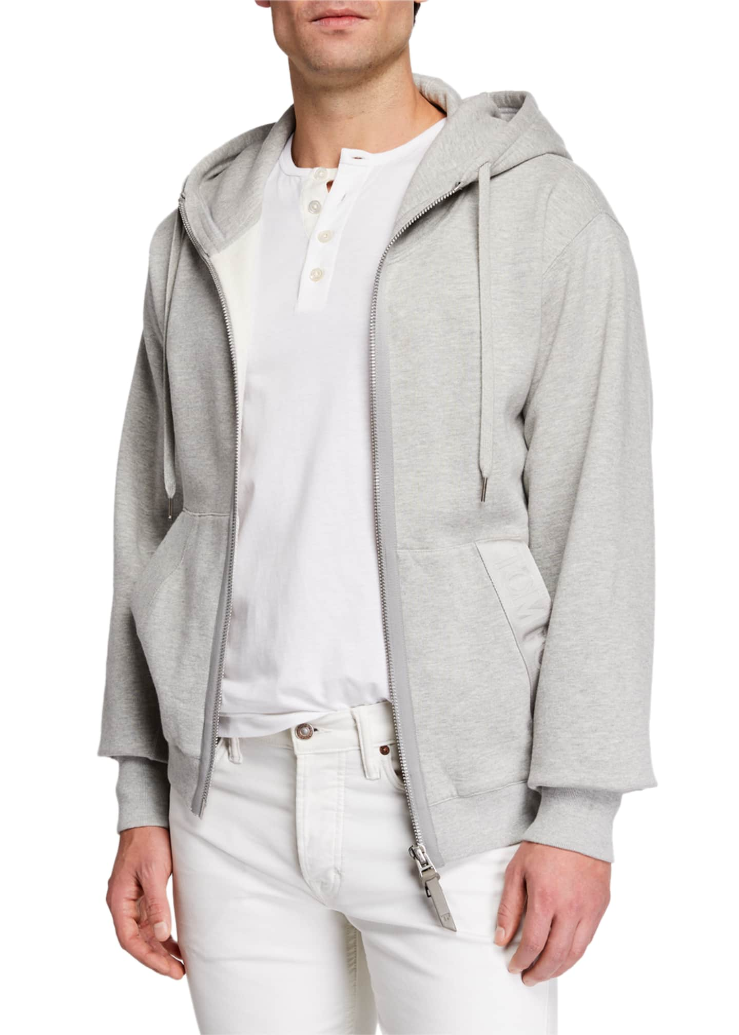 TOM FORD Men's Garment Dyed Hoodie Sweatshirt, Gray