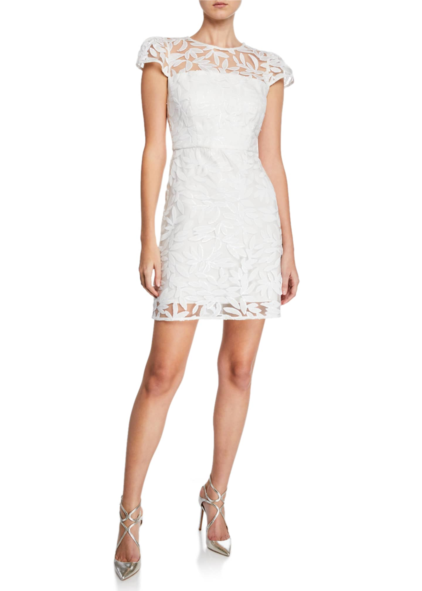 Milly Nickie Embroidered Tulle Cap-Sleeve Mini Cocktail Dress