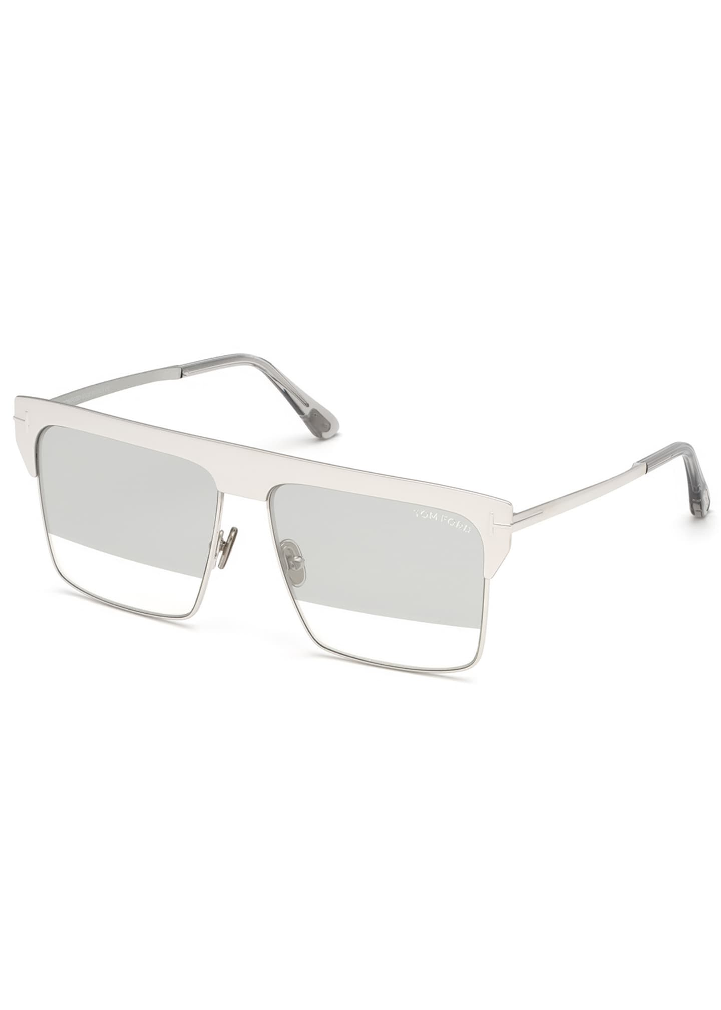 TOM FORD Men's Square Half-Rim Metal Sunglasses
