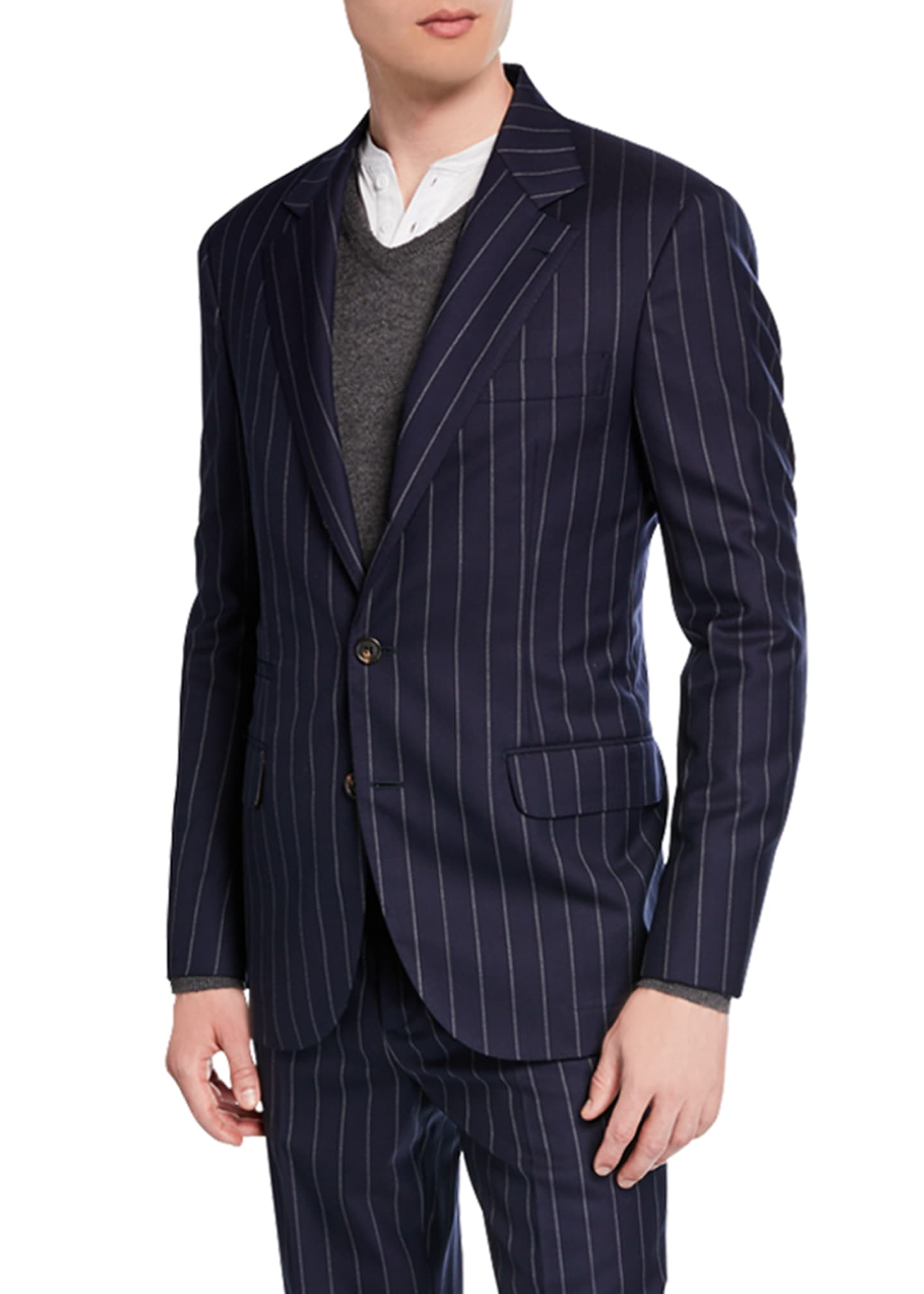 Image 2 of 4: Men's Wide Pinstriped Two-Piece Suit
